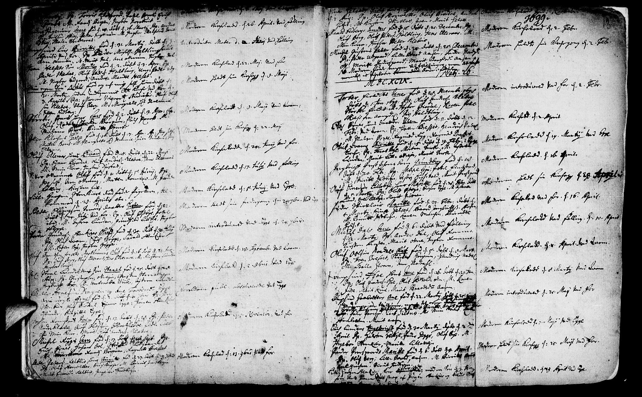 SAT, Ministerialprotokoller, klokkerbøker og fødselsregistre - Nord-Trøndelag, 746/L0439: Ministerialbok nr. 746A01, 1688-1759, s. 13