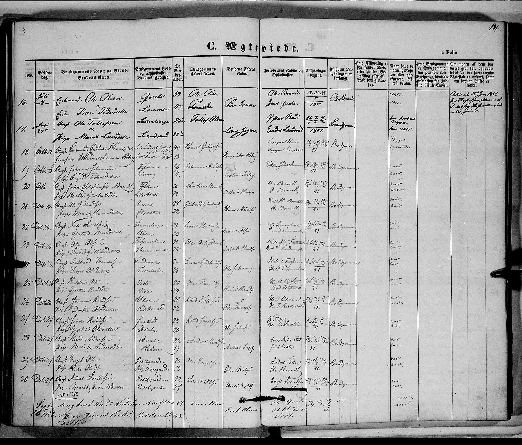 SAH, Vestre Slidre prestekontor, Ministerialbok nr. 1, 1844-1855, s. 181