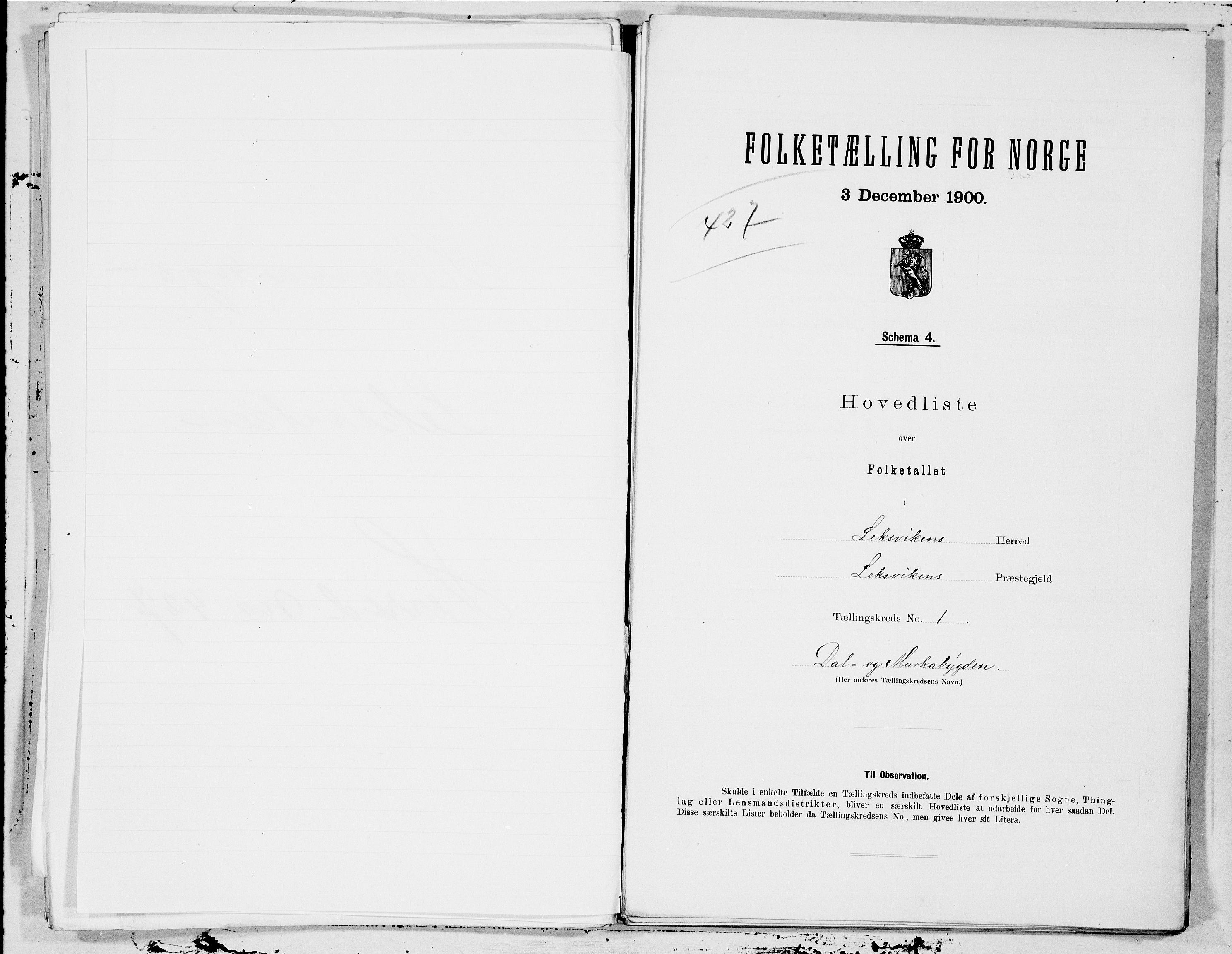 SAT, Folketelling 1900 for 1718 Leksvik herred, 1900, s. 2