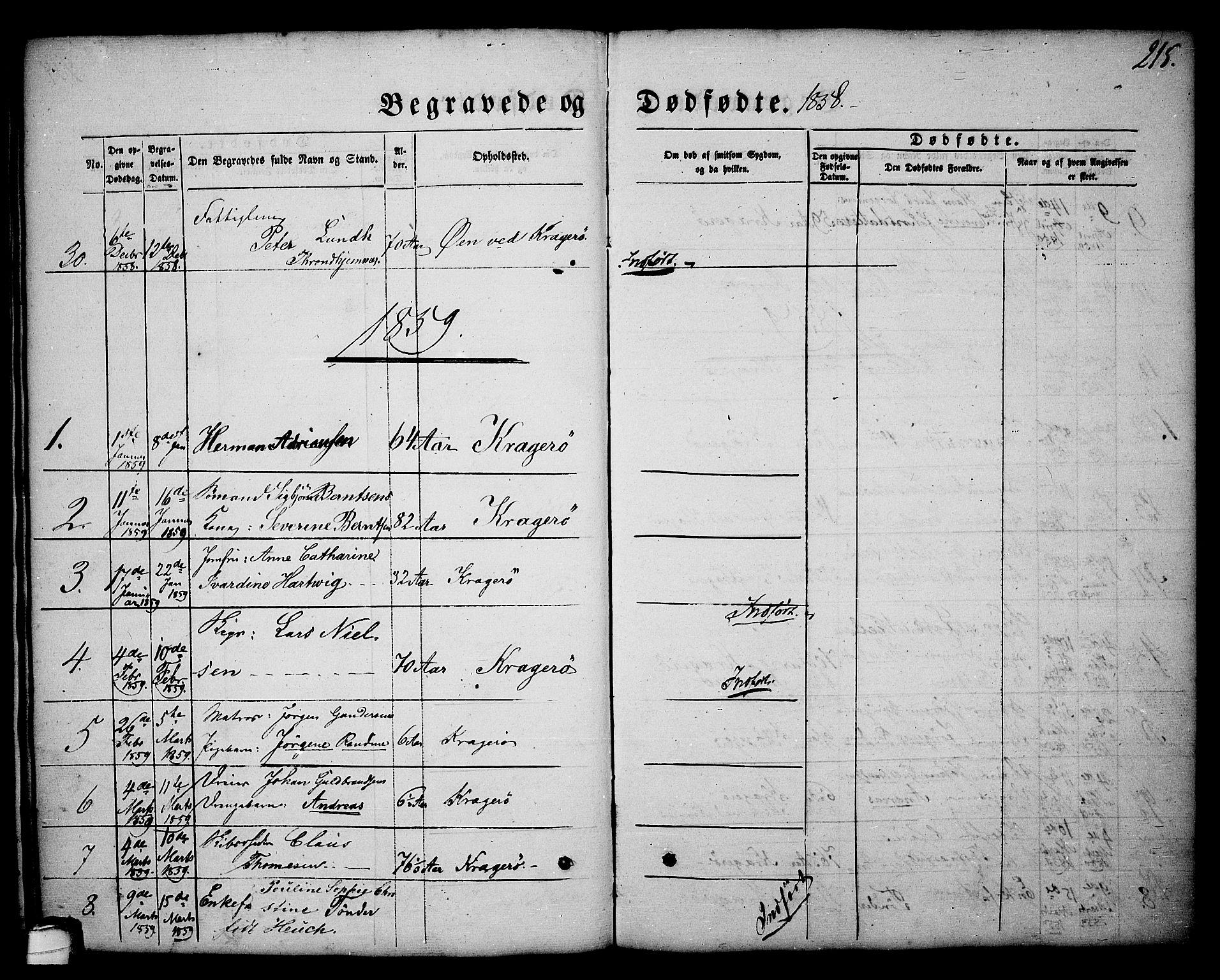 SAKO, Kragerø kirkebøker, G/Ga/L0004: Klokkerbok nr. 4, 1853-1865, s. 215
