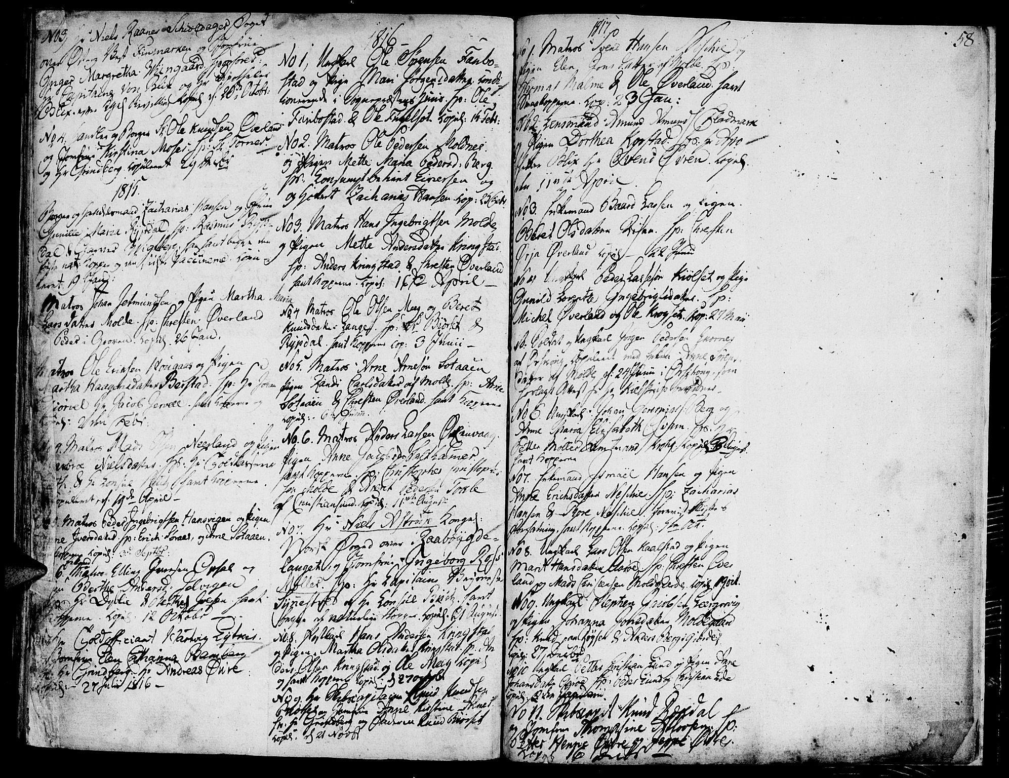 SAT, Ministerialprotokoller, klokkerbøker og fødselsregistre - Møre og Romsdal, 558/L0687: Ministerialbok nr. 558A01, 1798-1818, s. 58