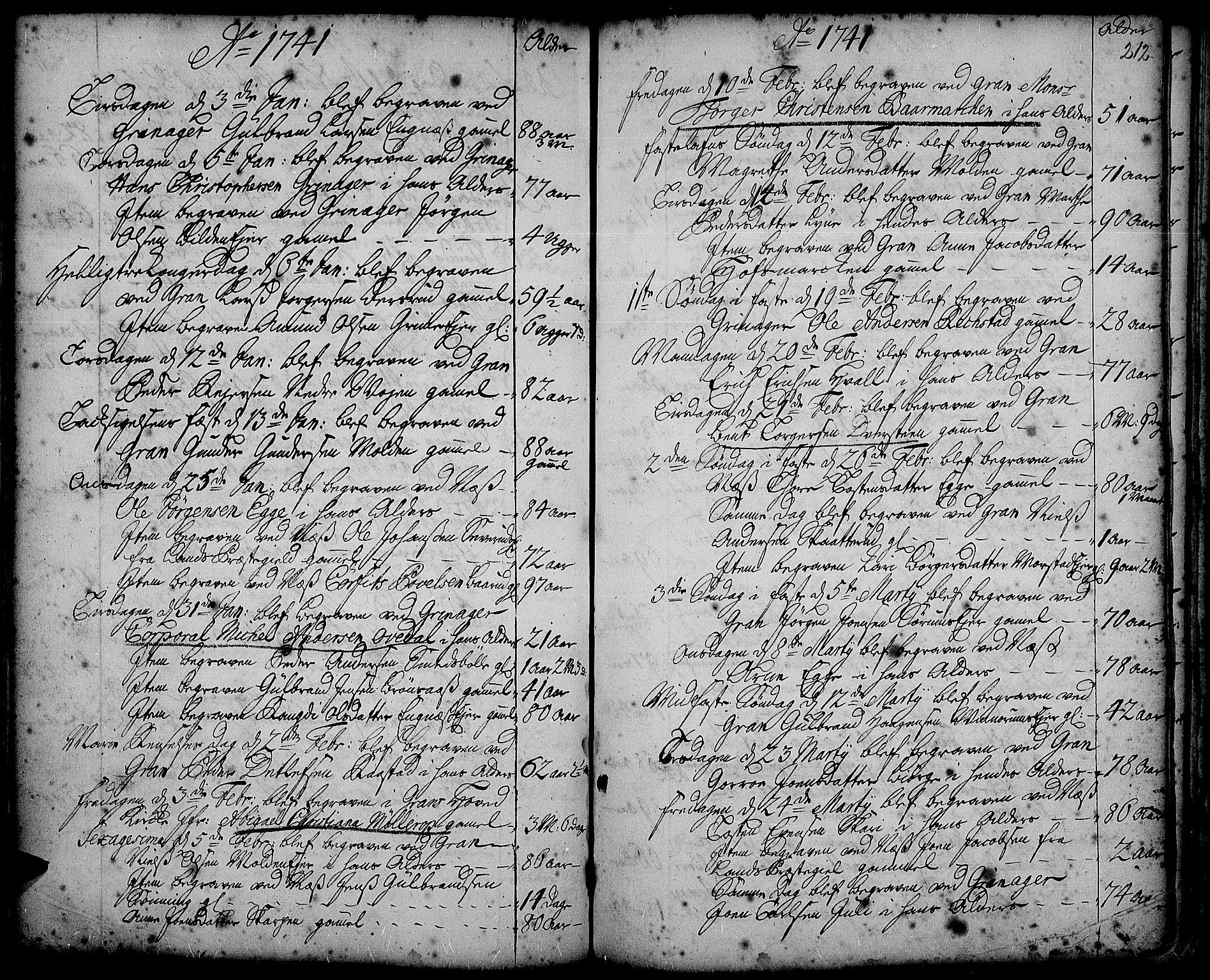 SAH, Gran prestekontor, Ministerialbok nr. 2, 1732-1744, s. 212