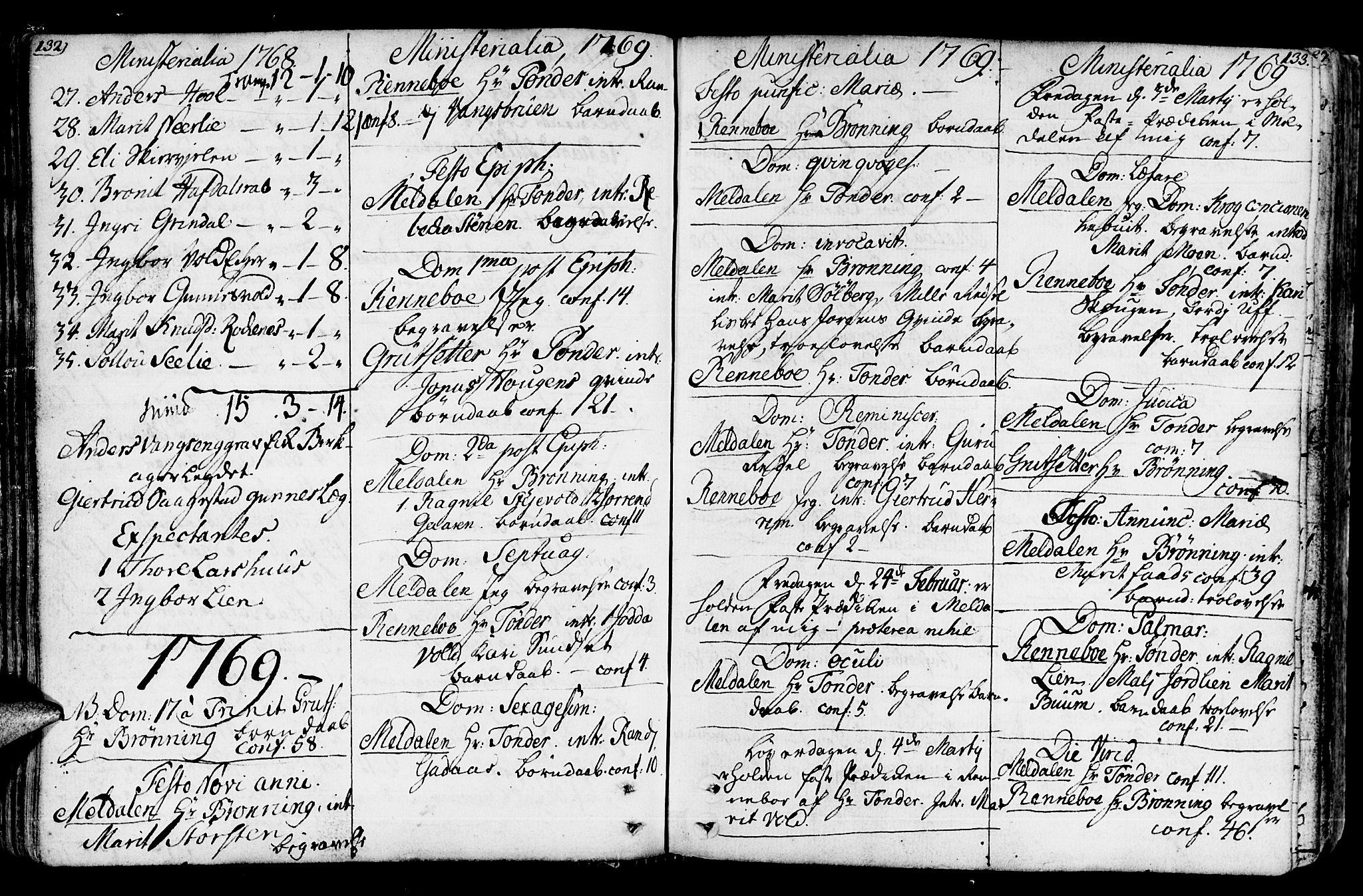SAT, Ministerialprotokoller, klokkerbøker og fødselsregistre - Sør-Trøndelag, 672/L0851: Ministerialbok nr. 672A04, 1751-1775, s. 132-133