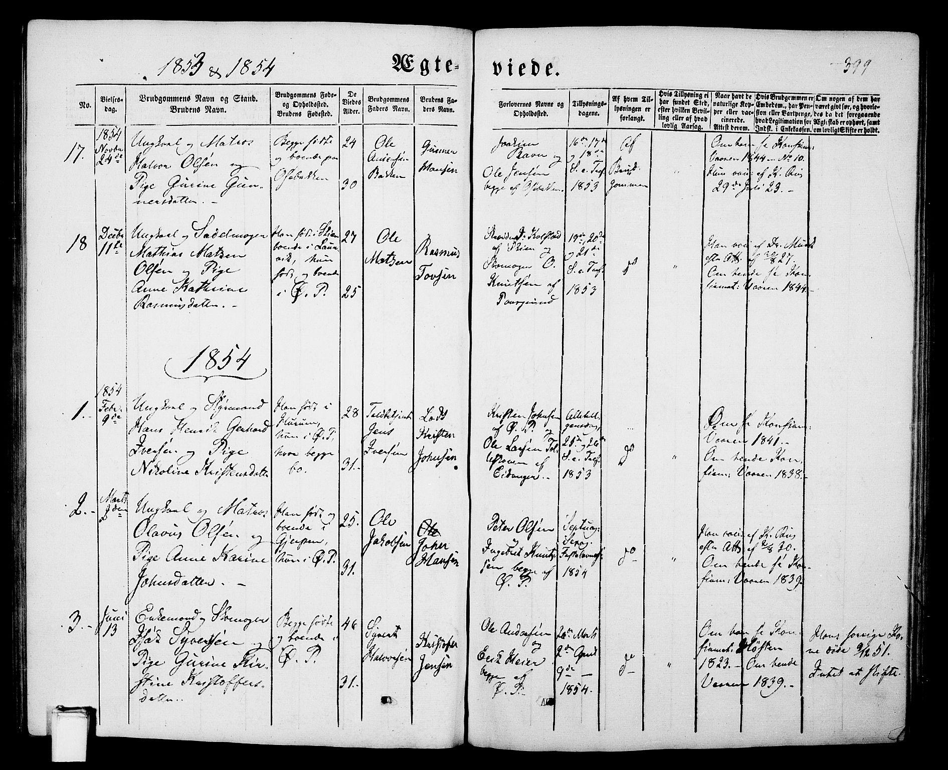 SAKO, Porsgrunn kirkebøker , G/Gb/L0004: Klokkerbok nr. II 4, 1853-1882, s. 399