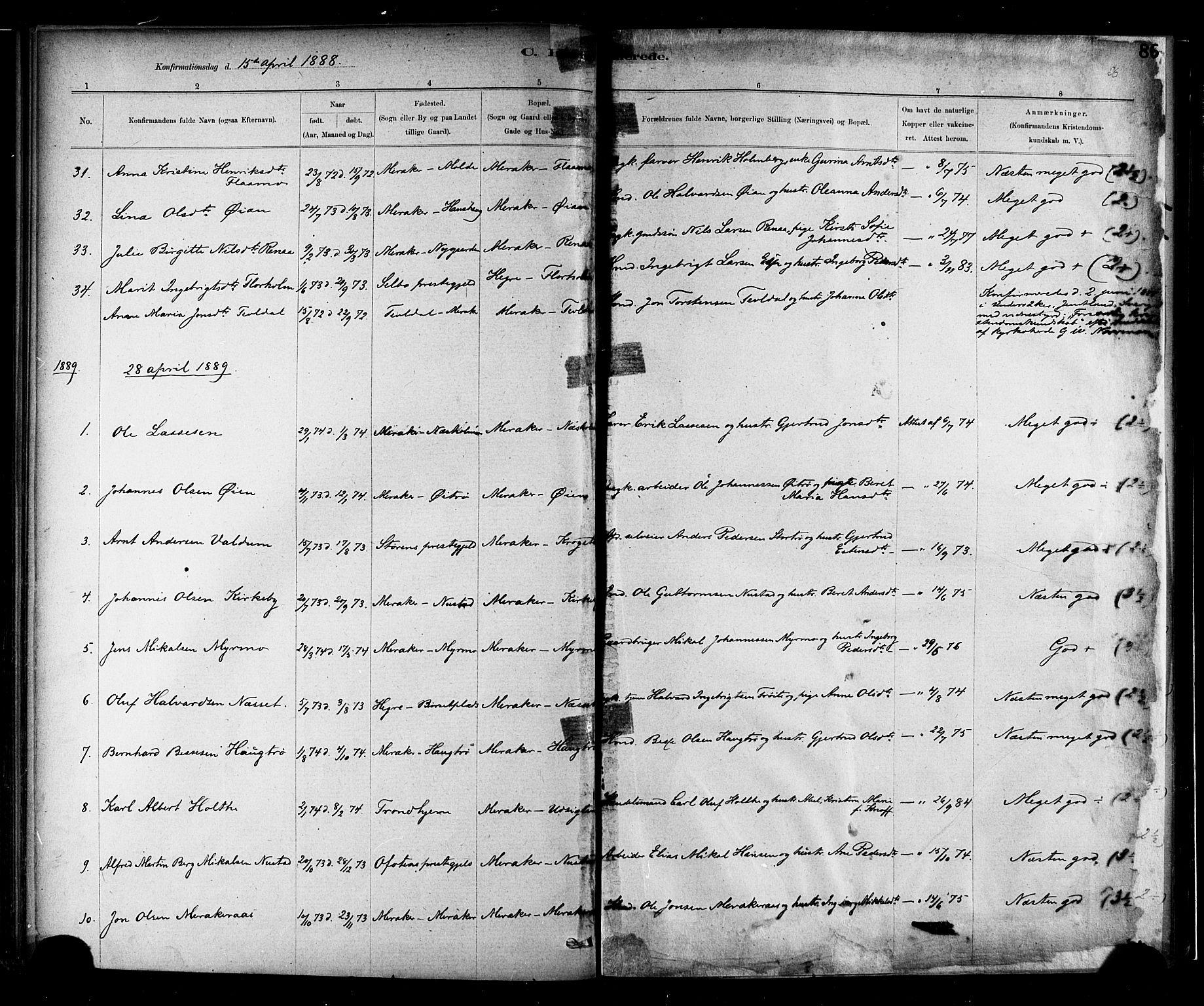 SAT, Ministerialprotokoller, klokkerbøker og fødselsregistre - Nord-Trøndelag, 706/L0047: Ministerialbok nr. 706A03, 1878-1892, s. 86