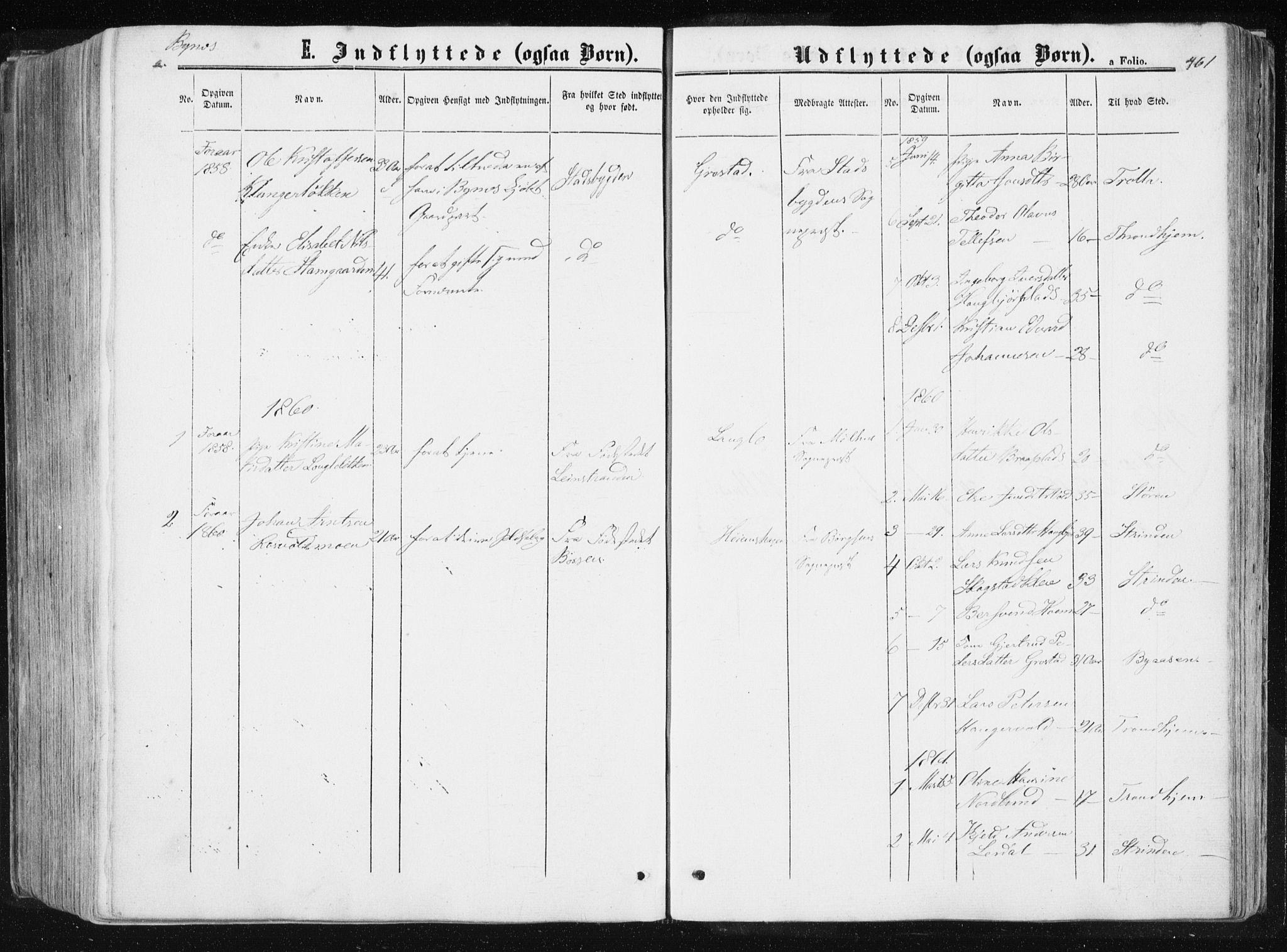 SAT, Ministerialprotokoller, klokkerbøker og fødselsregistre - Sør-Trøndelag, 612/L0377: Ministerialbok nr. 612A09, 1859-1877, s. 461