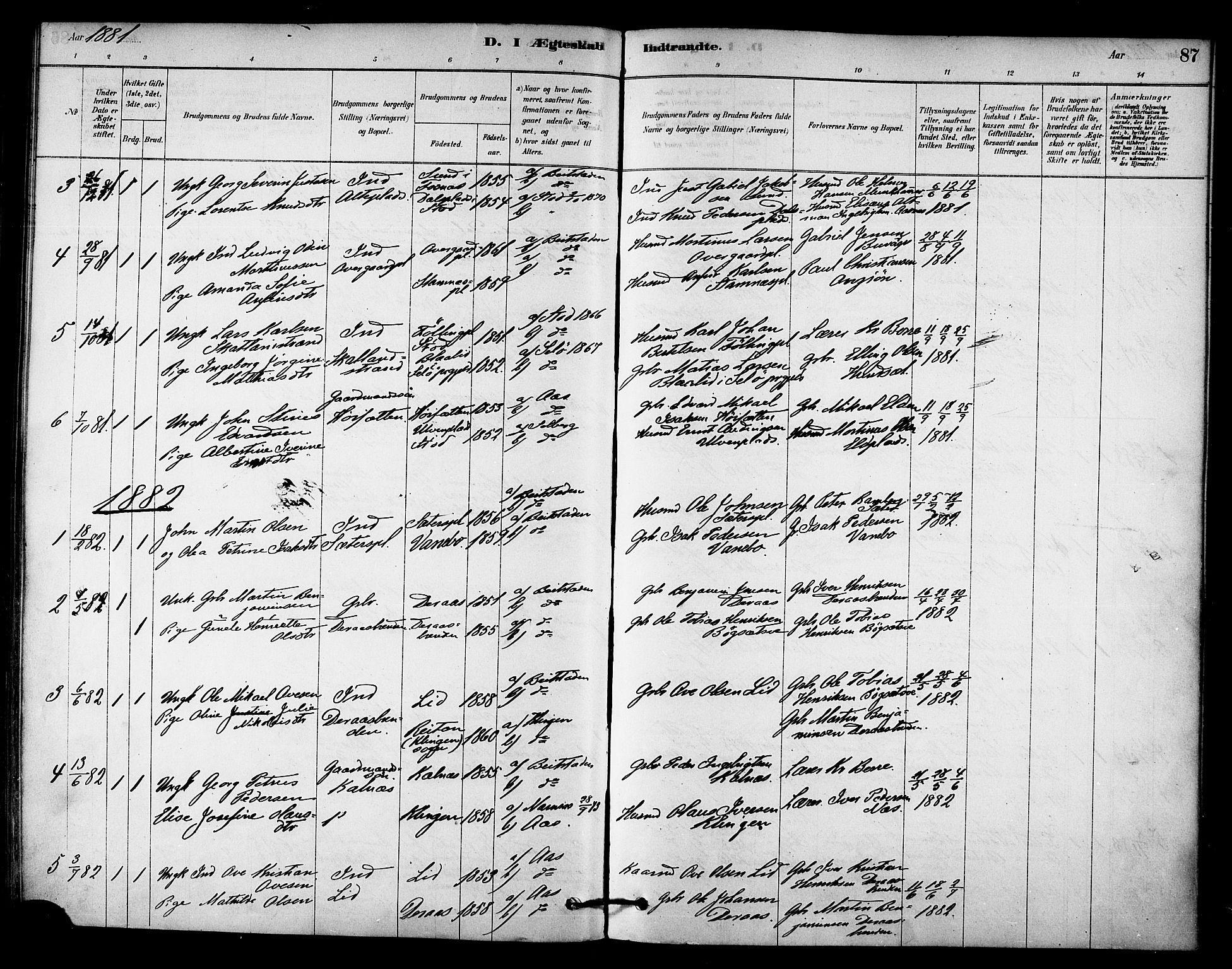 SAT, Ministerialprotokoller, klokkerbøker og fødselsregistre - Nord-Trøndelag, 742/L0408: Ministerialbok nr. 742A01, 1878-1890, s. 87