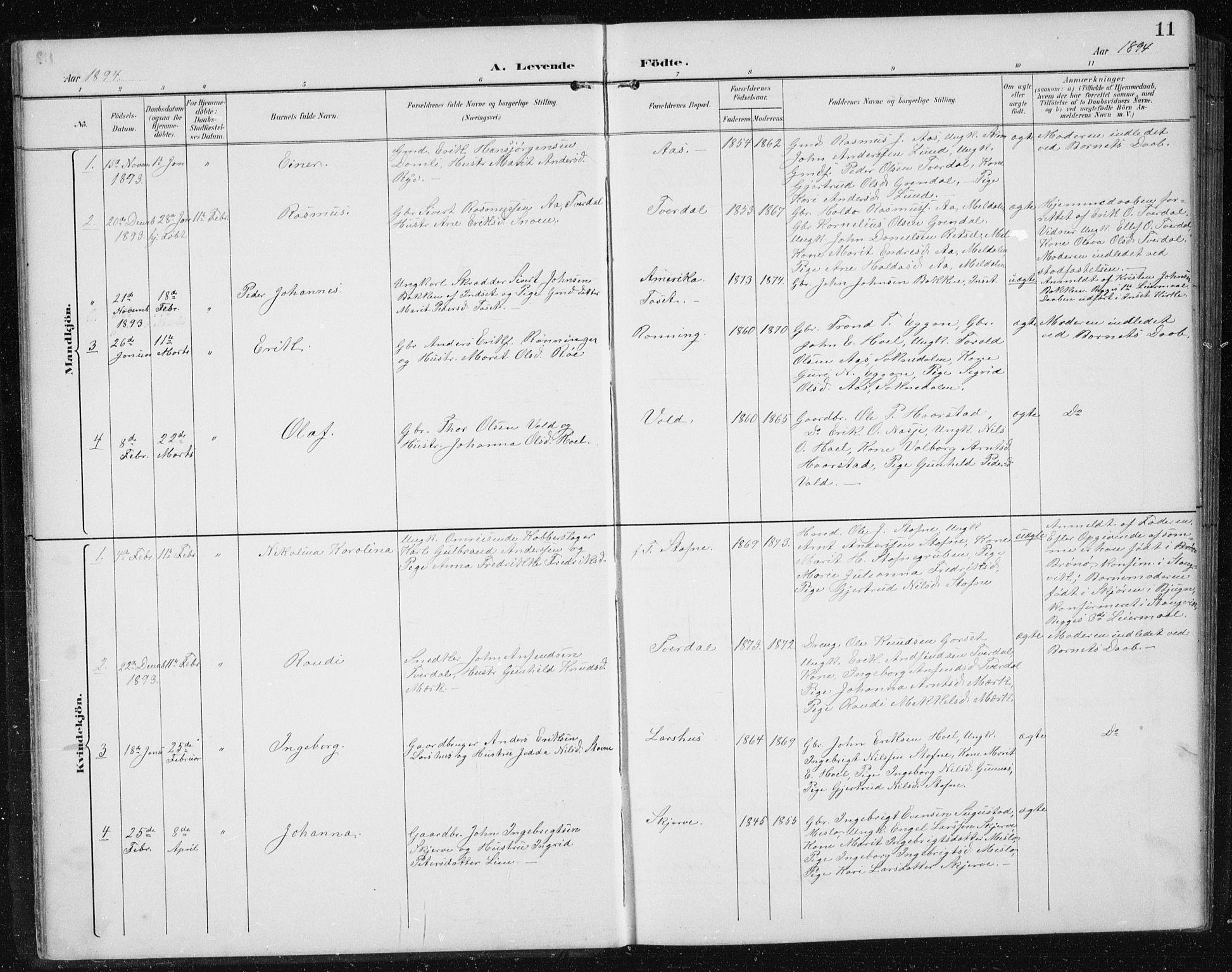SAT, Ministerialprotokoller, klokkerbøker og fødselsregistre - Sør-Trøndelag, 674/L0876: Klokkerbok nr. 674C03, 1892-1912, s. 11