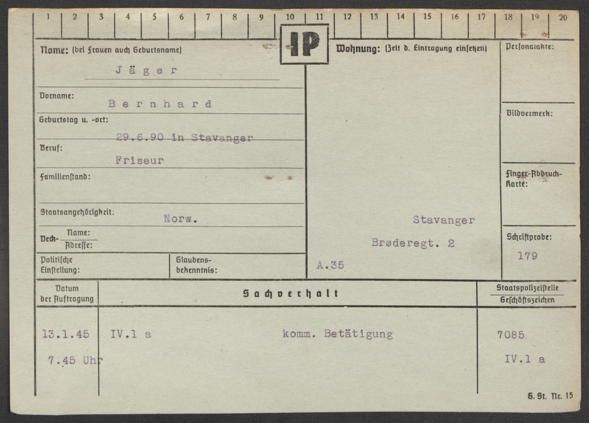 RA, Befehlshaber der Sicherheitspolizei und des SD, E/Ea/Eaa/L0005: Register over norske fanger i Møllergata 19: Hø-Kj, 1940-1945, s. 1073