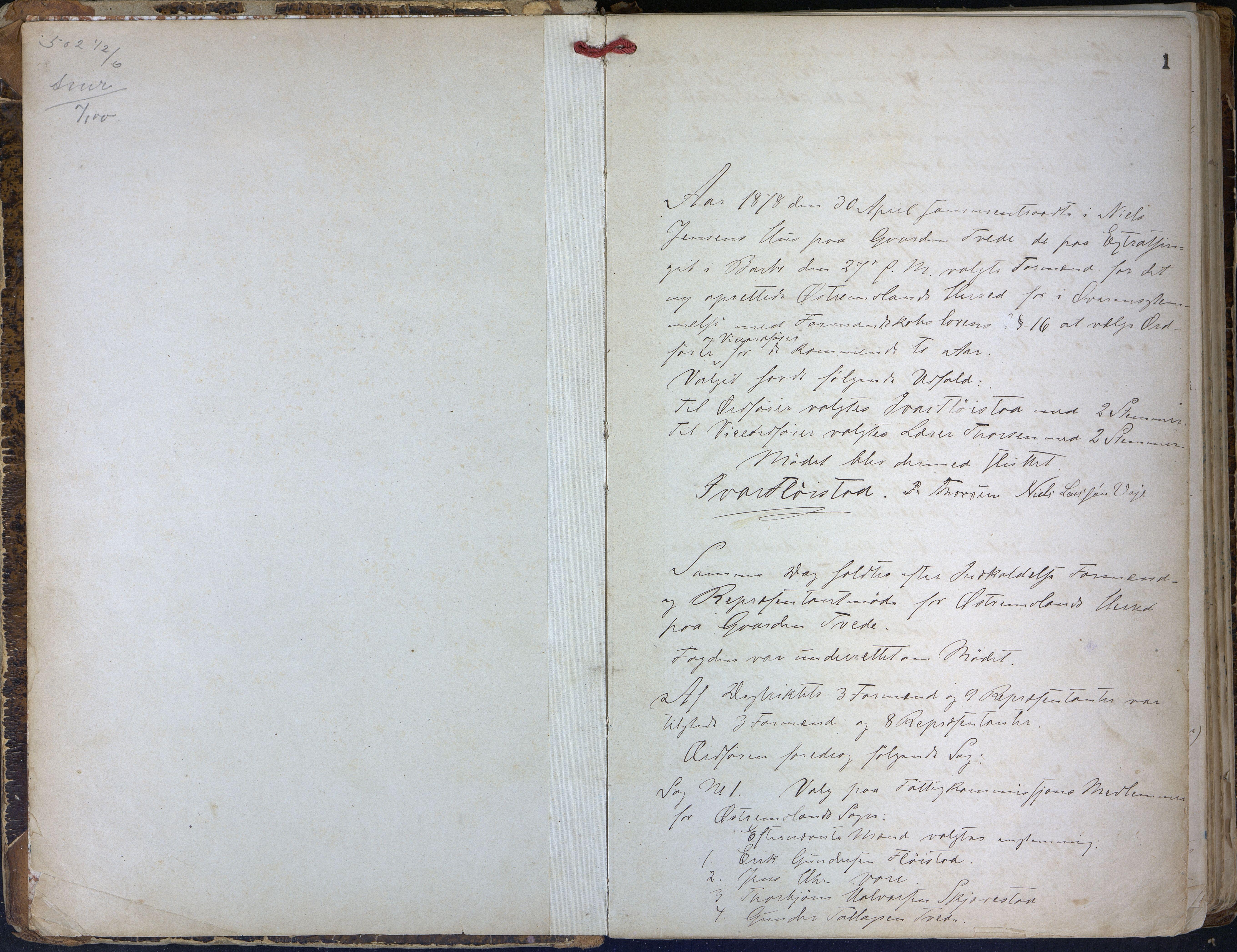 AAKS, Austre Moland kommune, 01/L0004: Møtebok, 1878-1910, s. 1