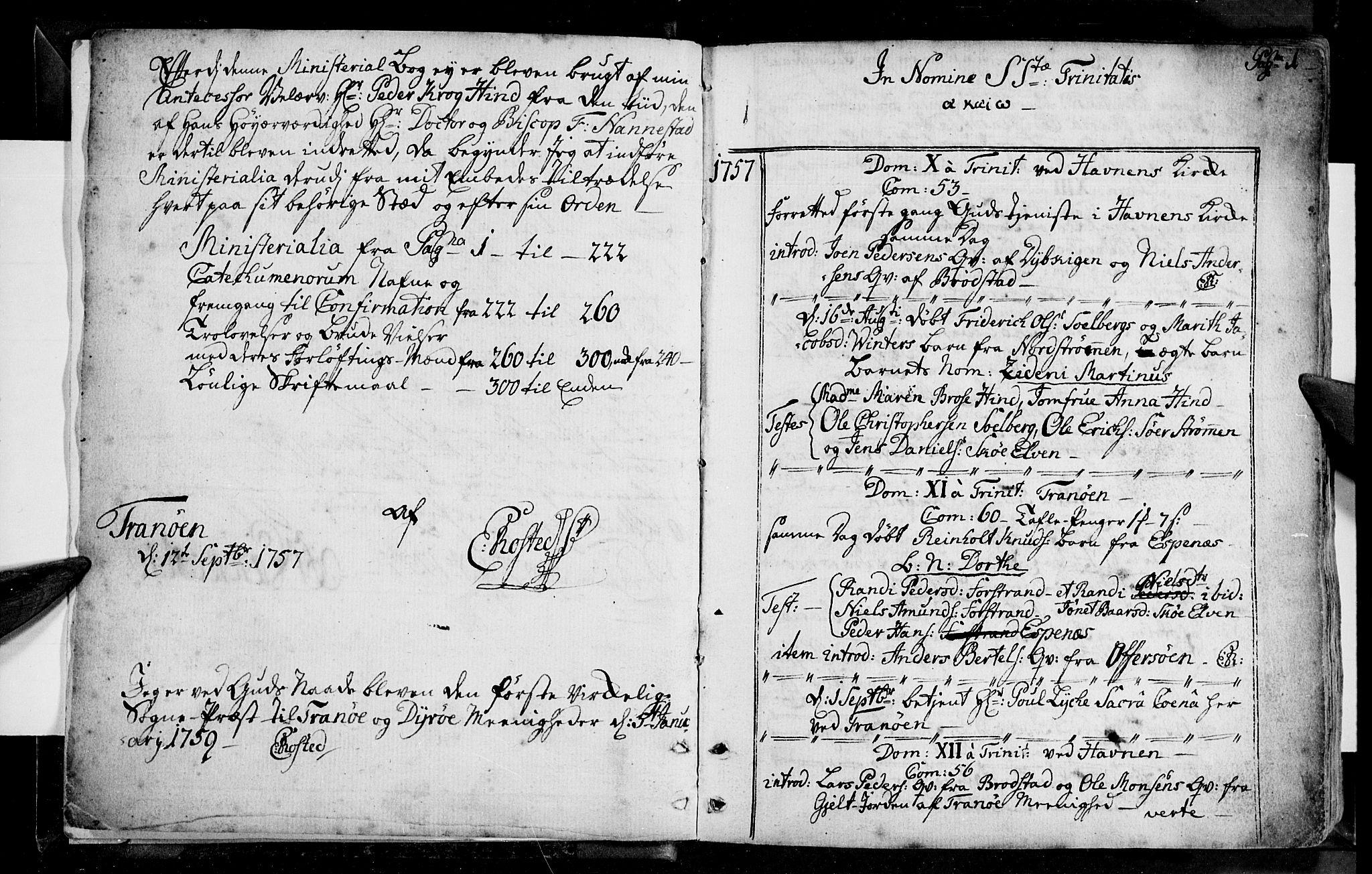 SATØ, Tranøy sokneprestkontor, I/Ia/Iaa/L0001kirke: Ministerialbok nr. 1, 1757-1773, s. 0-1
