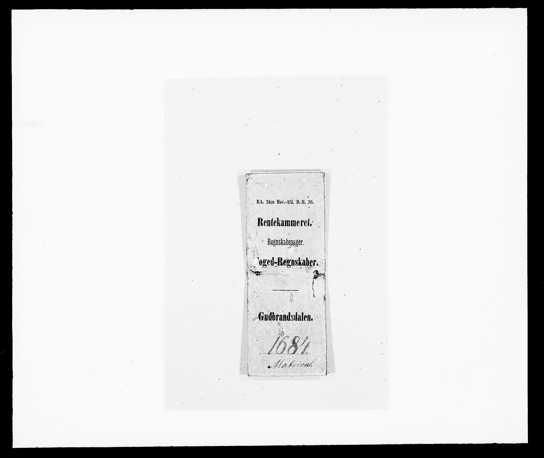 RA, Rentekammeret inntil 1814, Reviderte regnskaper, Fogderegnskap, R17/L1159: Fogderegnskap Gudbrandsdal, 1682-1689, s. 1