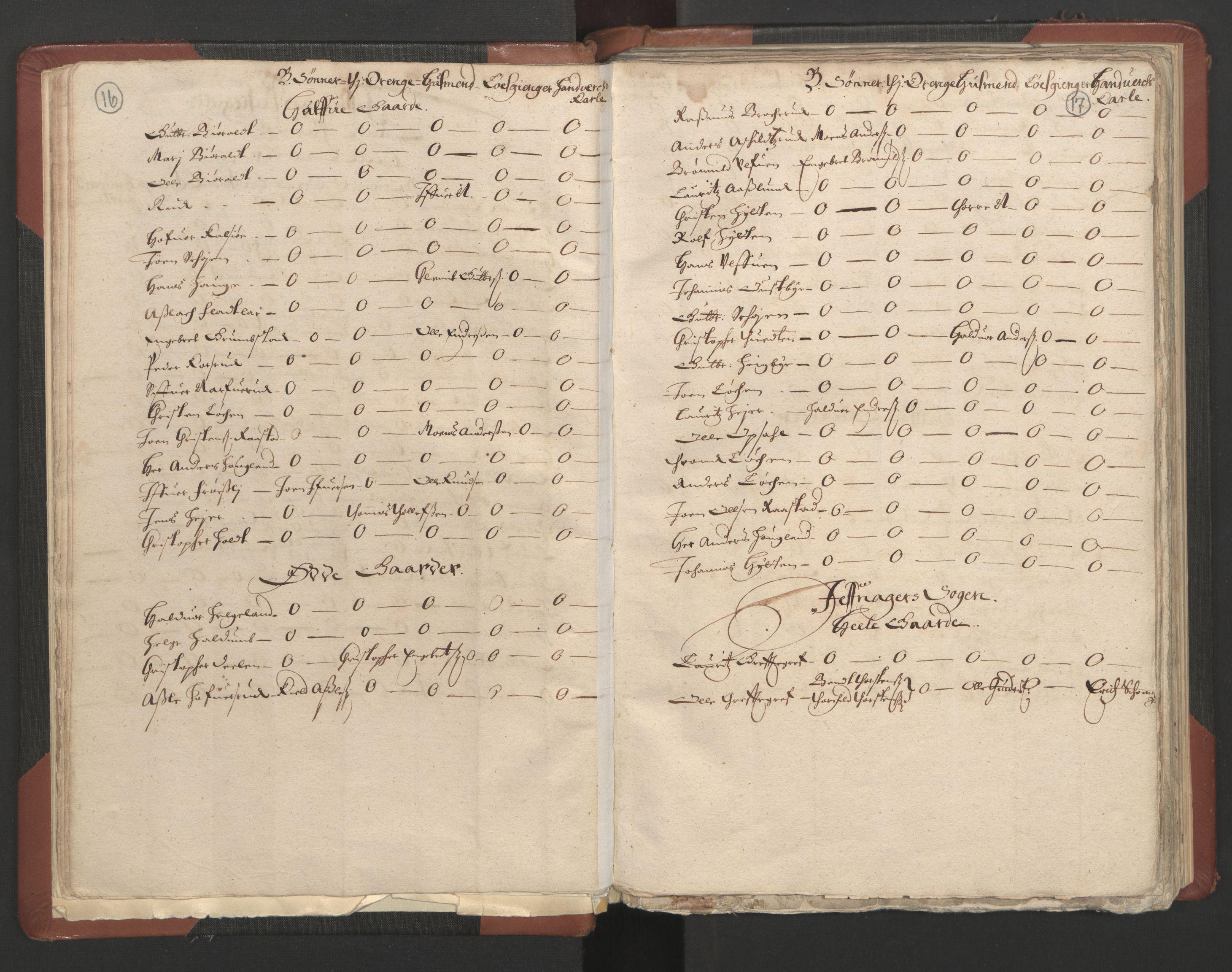 RA, Fogdenes og sorenskrivernes manntall 1664-1666, nr. 4: Hadeland og Valdres fogderi og Gudbrandsdal fogderi, 1664, s. 16-17