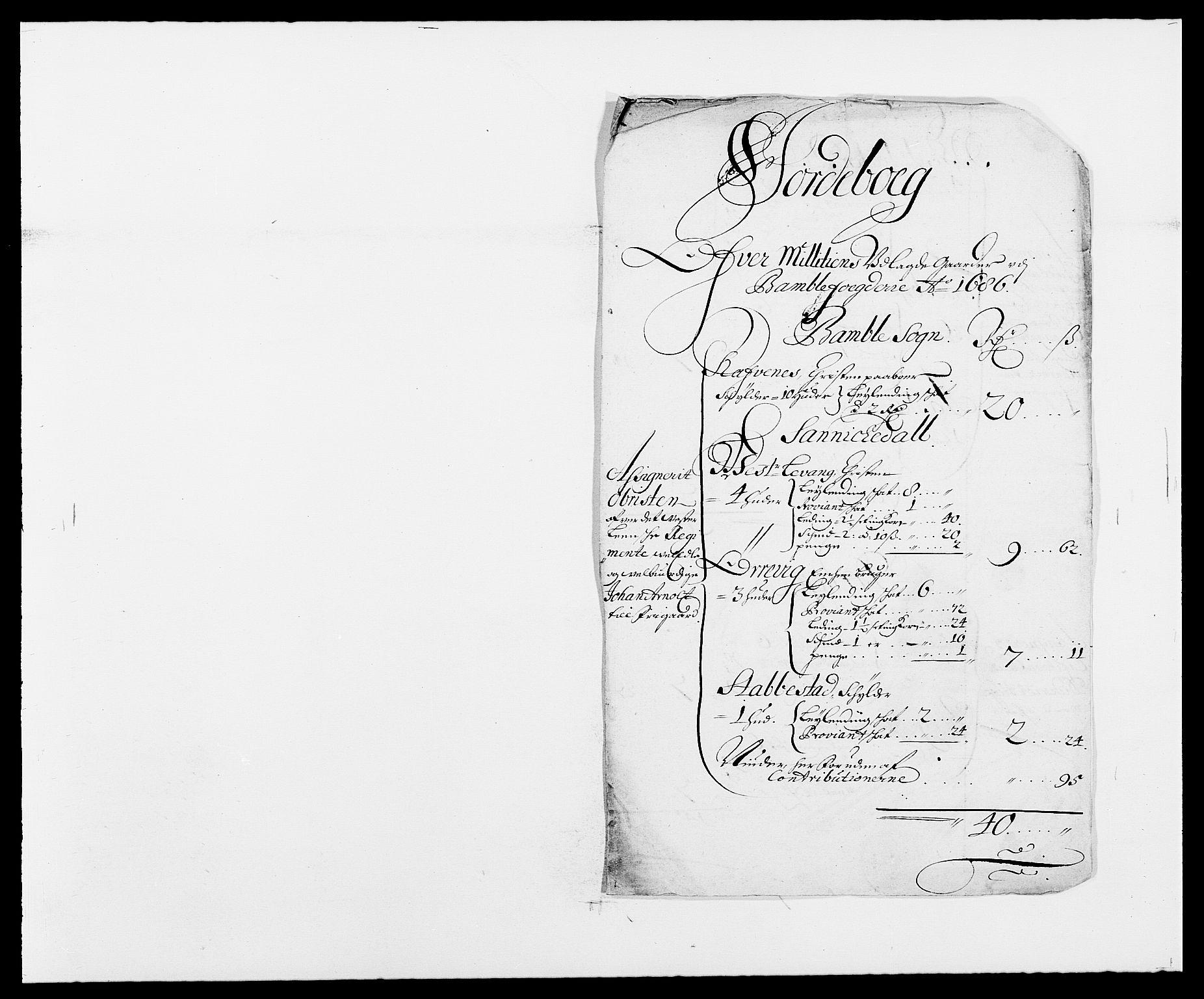 RA, Rentekammeret inntil 1814, Reviderte regnskaper, Fogderegnskap, R34/L2049: Fogderegnskap Bamble, 1685-1687, s. 207
