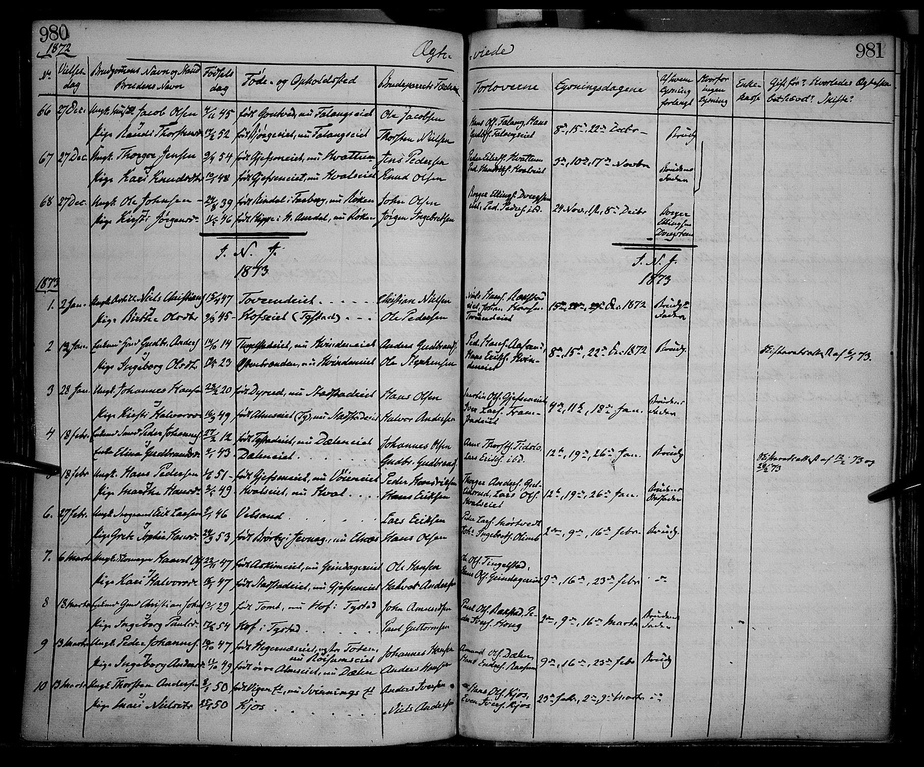 SAH, Gran prestekontor, Ministerialbok nr. 12, 1856-1874, s. 980-981