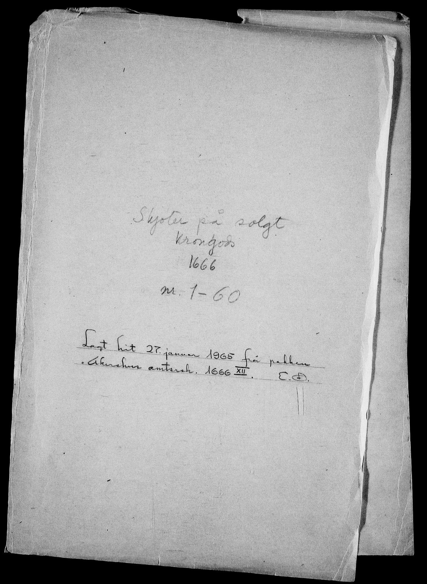 RA, Rentekammeret inntil 1814, Realistisk ordnet avdeling, On/L0010: [Jj 11]: Salg av krongods i Norge, 1661-1704, s. 240