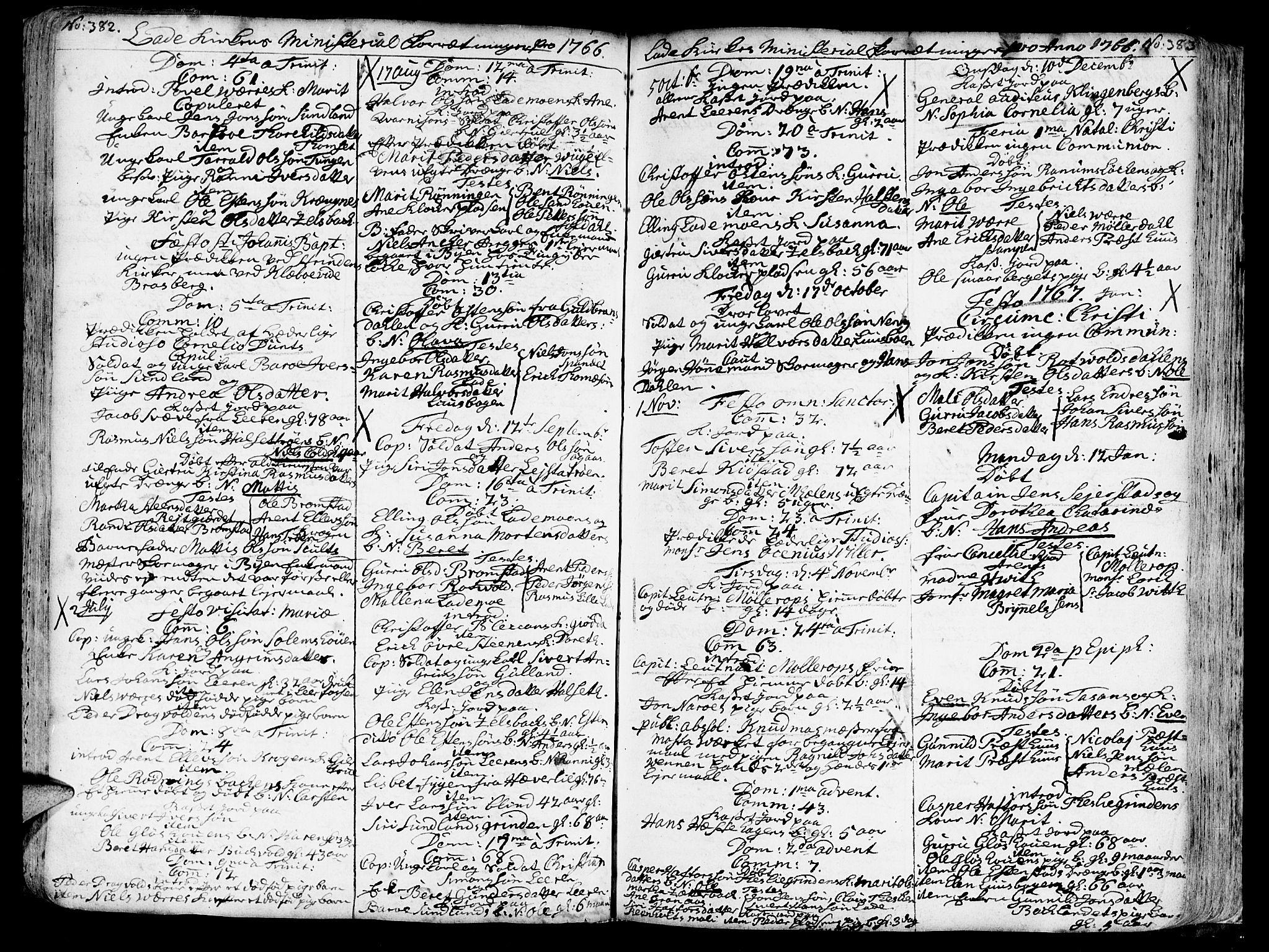 SAT, Ministerialprotokoller, klokkerbøker og fødselsregistre - Sør-Trøndelag, 606/L0275: Ministerialbok nr. 606A01 /1, 1727-1780, s. 382-383