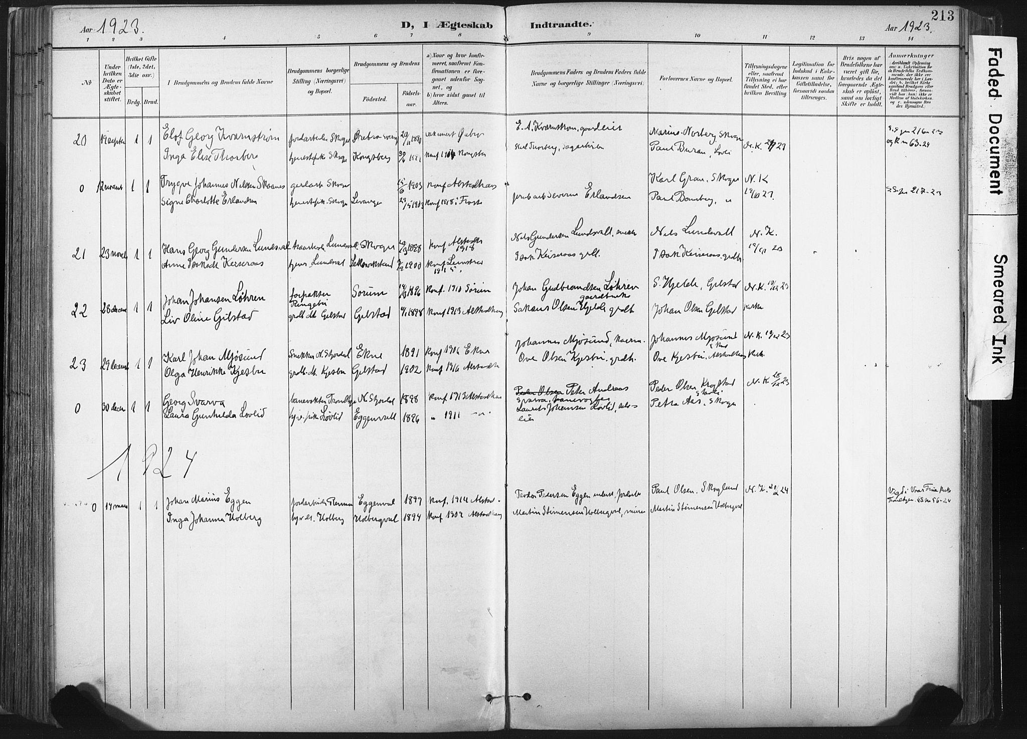 SAT, Ministerialprotokoller, klokkerbøker og fødselsregistre - Nord-Trøndelag, 717/L0162: Ministerialbok nr. 717A12, 1898-1923, s. 213