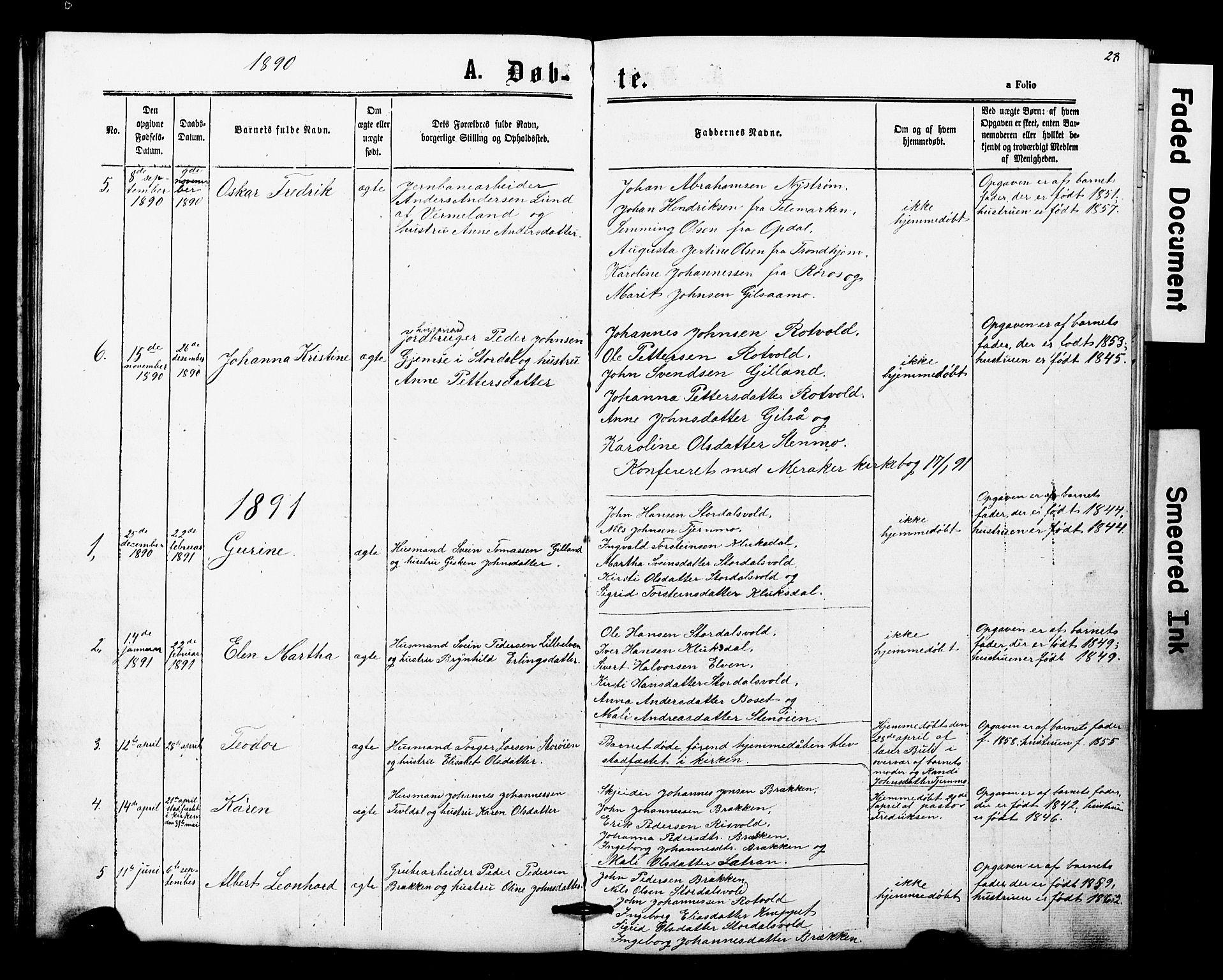 SAT, Ministerialprotokoller, klokkerbøker og fødselsregistre - Nord-Trøndelag, 707/L0052: Klokkerbok nr. 707C01, 1864-1897, s. 28
