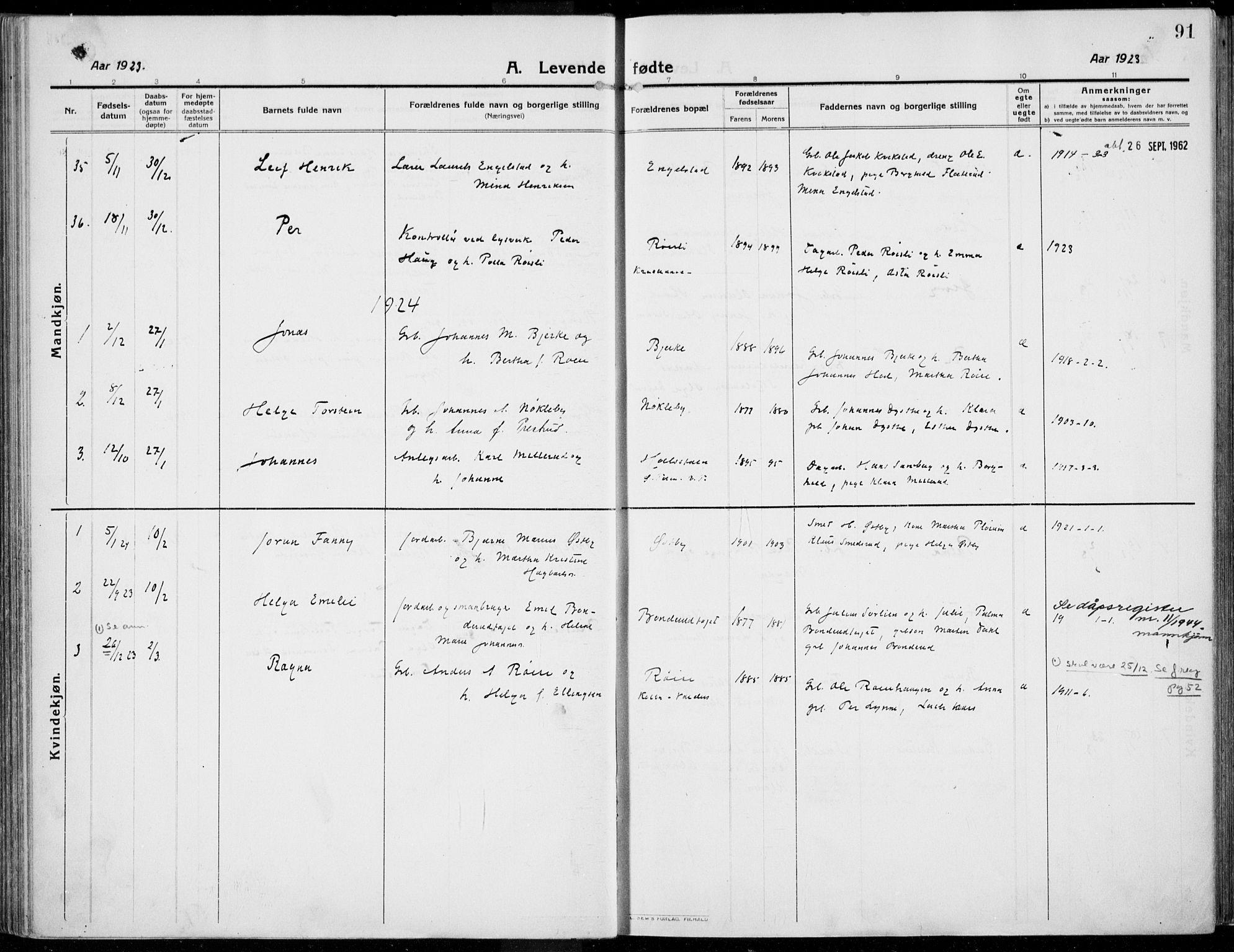 SAH, Kolbu prestekontor, Ministerialbok nr. 2, 1912-1926, s. 91