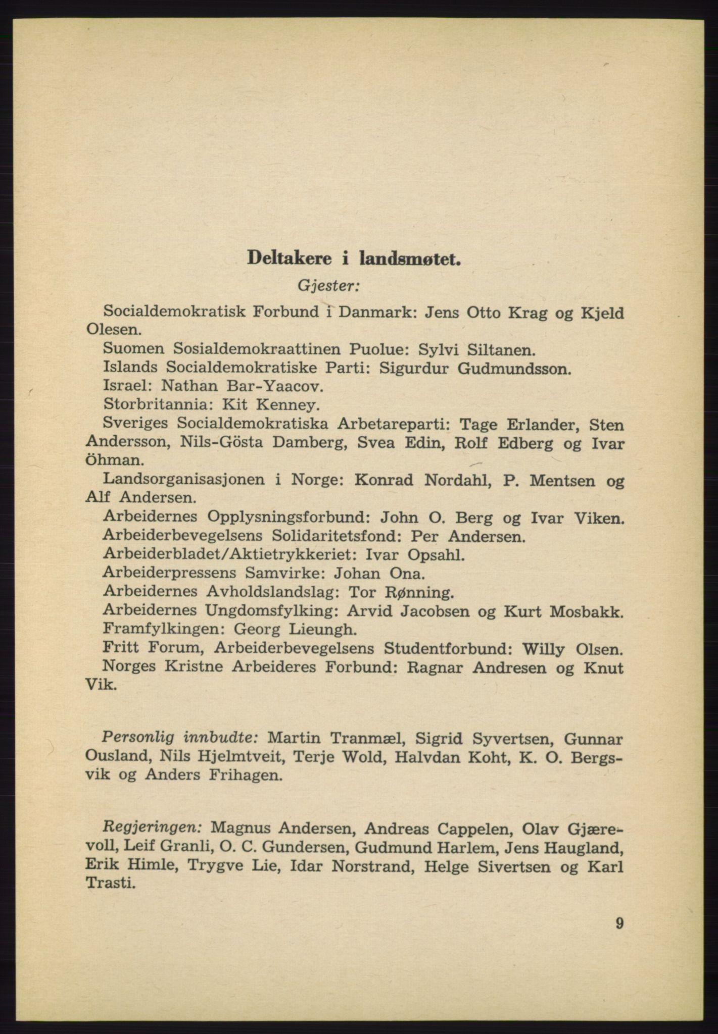 AAB, Det norske Arbeiderparti - publikasjoner, -/-: Protokoll over forhandlingene på det 40. ordinære landsmøte 27.-29. mai 1965 i Oslo, 1965, s. 9
