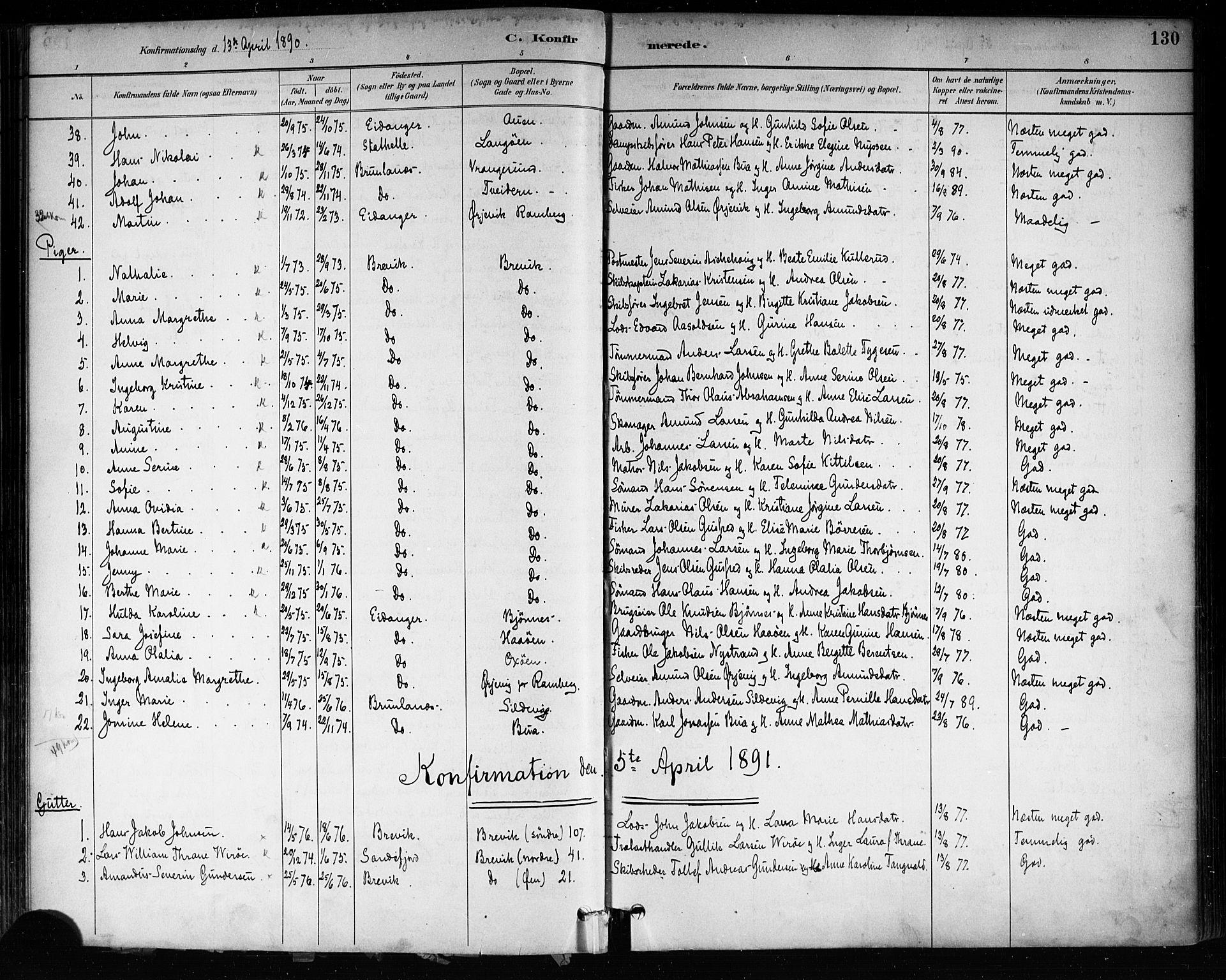 SAKO, Brevik kirkebøker, F/Fa/L0007: Ministerialbok nr. 7, 1882-1900, s. 130