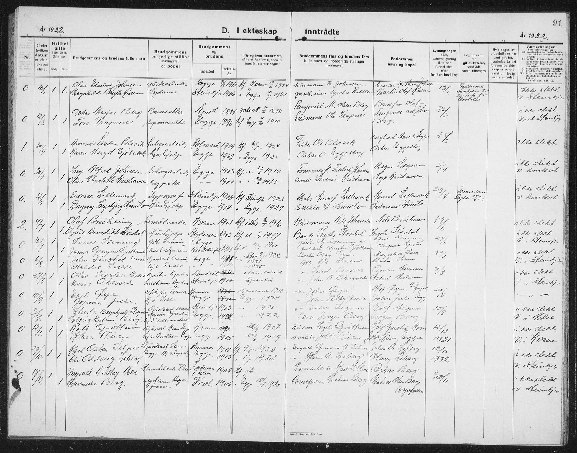 SAT, Ministerialprotokoller, klokkerbøker og fødselsregistre - Nord-Trøndelag, 740/L0383: Klokkerbok nr. 740C04, 1927-1939, s. 91