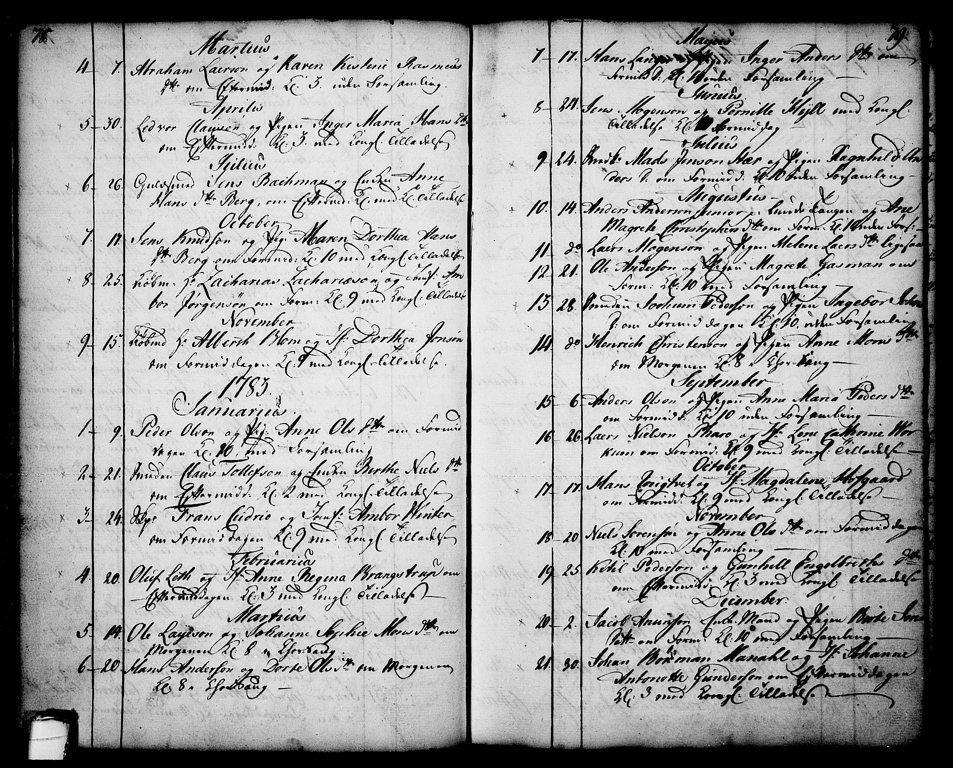 SAKO, Skien kirkebøker, F/Fa/L0003: Ministerialbok nr. 3, 1755-1791, s. 78-79