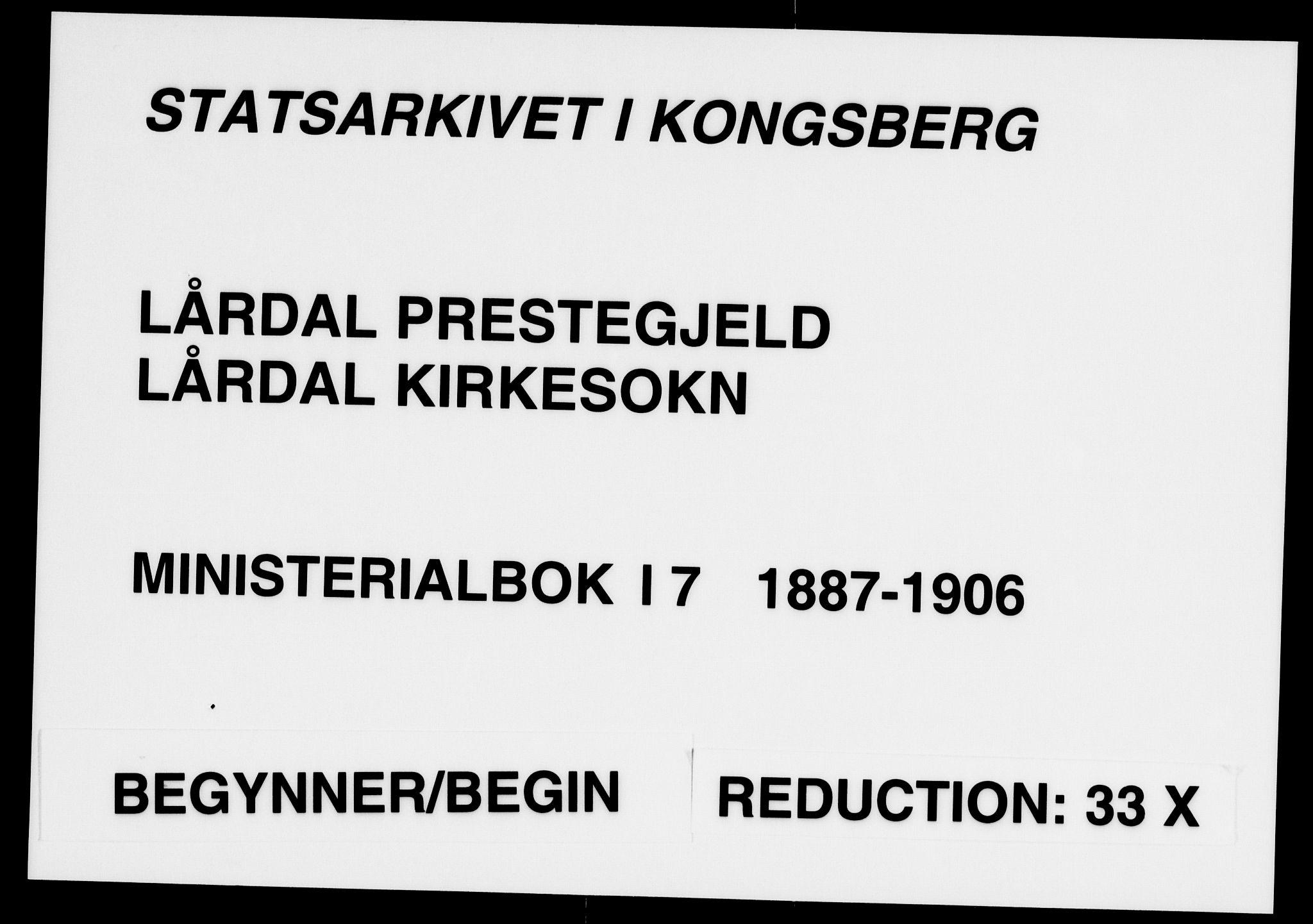 SAKO, Lårdal kirkebøker, F/Fa/L0007: Ministerialbok nr. I 7, 1887-1906