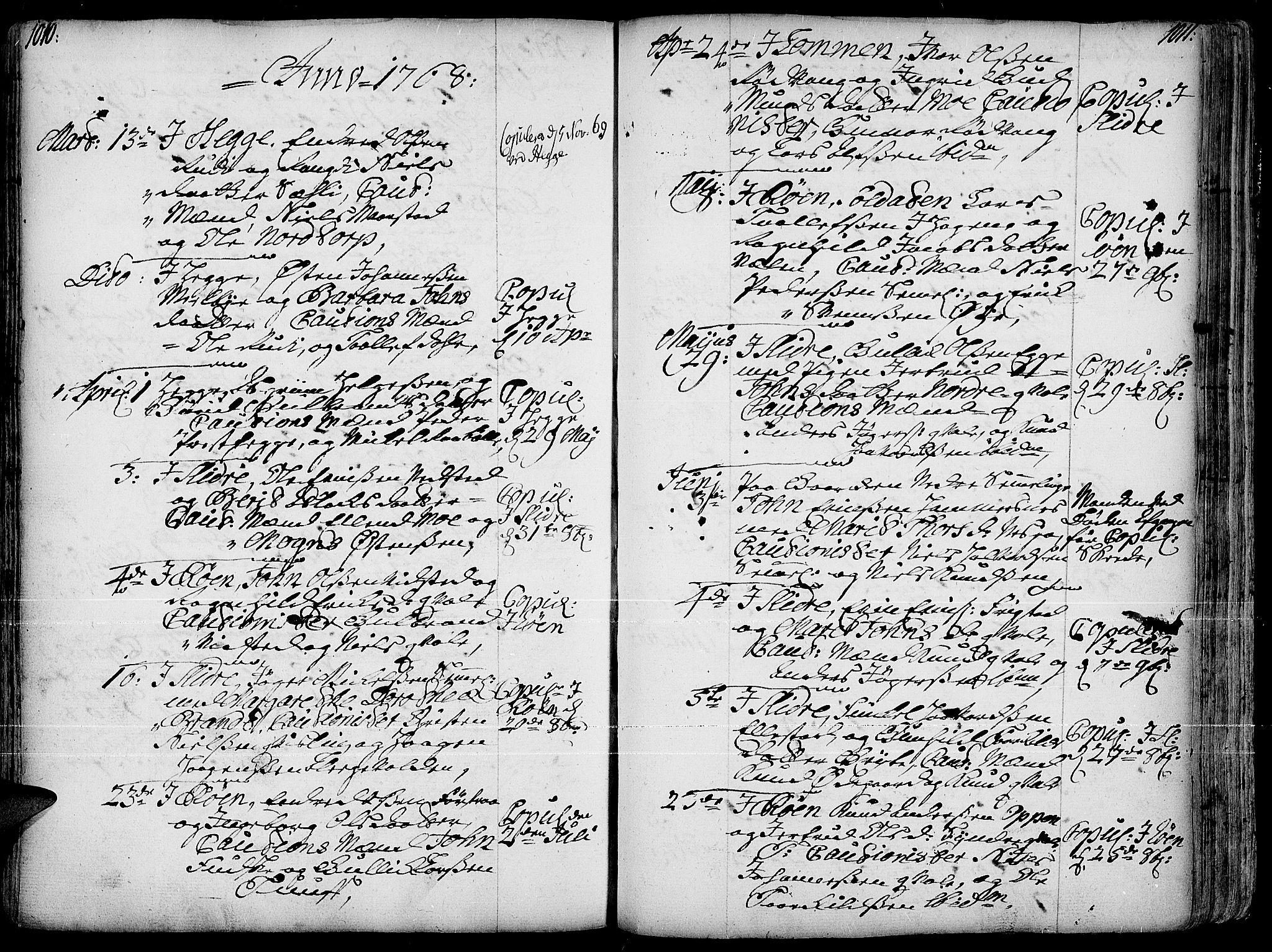 SAH, Slidre prestekontor, Ministerialbok nr. 1, 1724-1814, s. 1010-1011