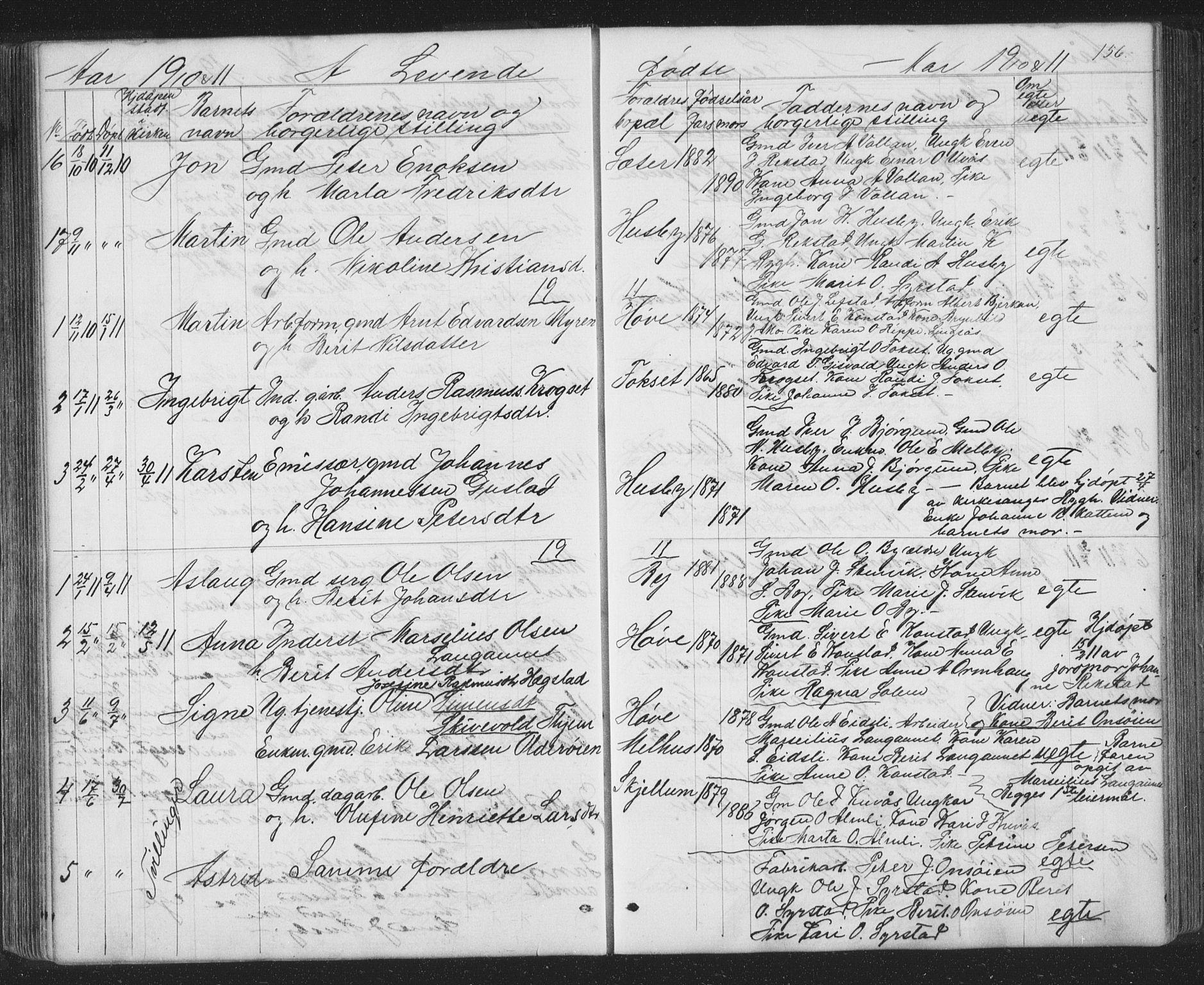SAT, Ministerialprotokoller, klokkerbøker og fødselsregistre - Sør-Trøndelag, 667/L0798: Klokkerbok nr. 667C03, 1867-1929, s. 156