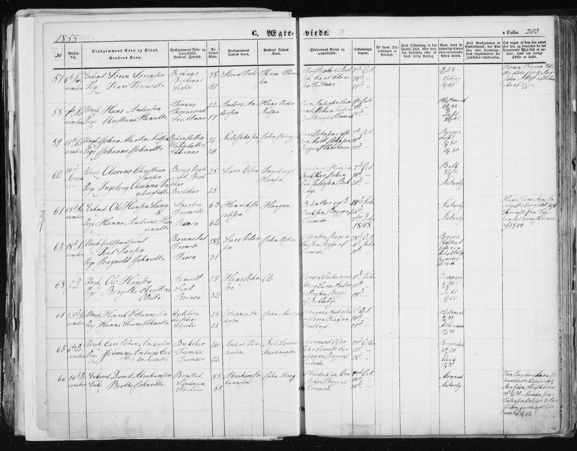 SATØ, Tromsø sokneprestkontor/stiftsprosti/domprosti, G/Ga/L0010kirke: Ministerialbok nr. 10, 1848-1855, s. 283