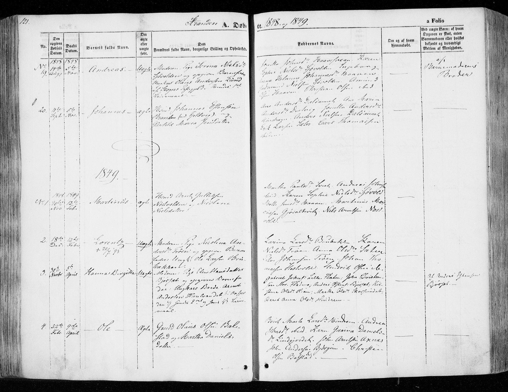 SAT, Ministerialprotokoller, klokkerbøker og fødselsregistre - Nord-Trøndelag, 701/L0007: Ministerialbok nr. 701A07 /2, 1842-1854, s. 121
