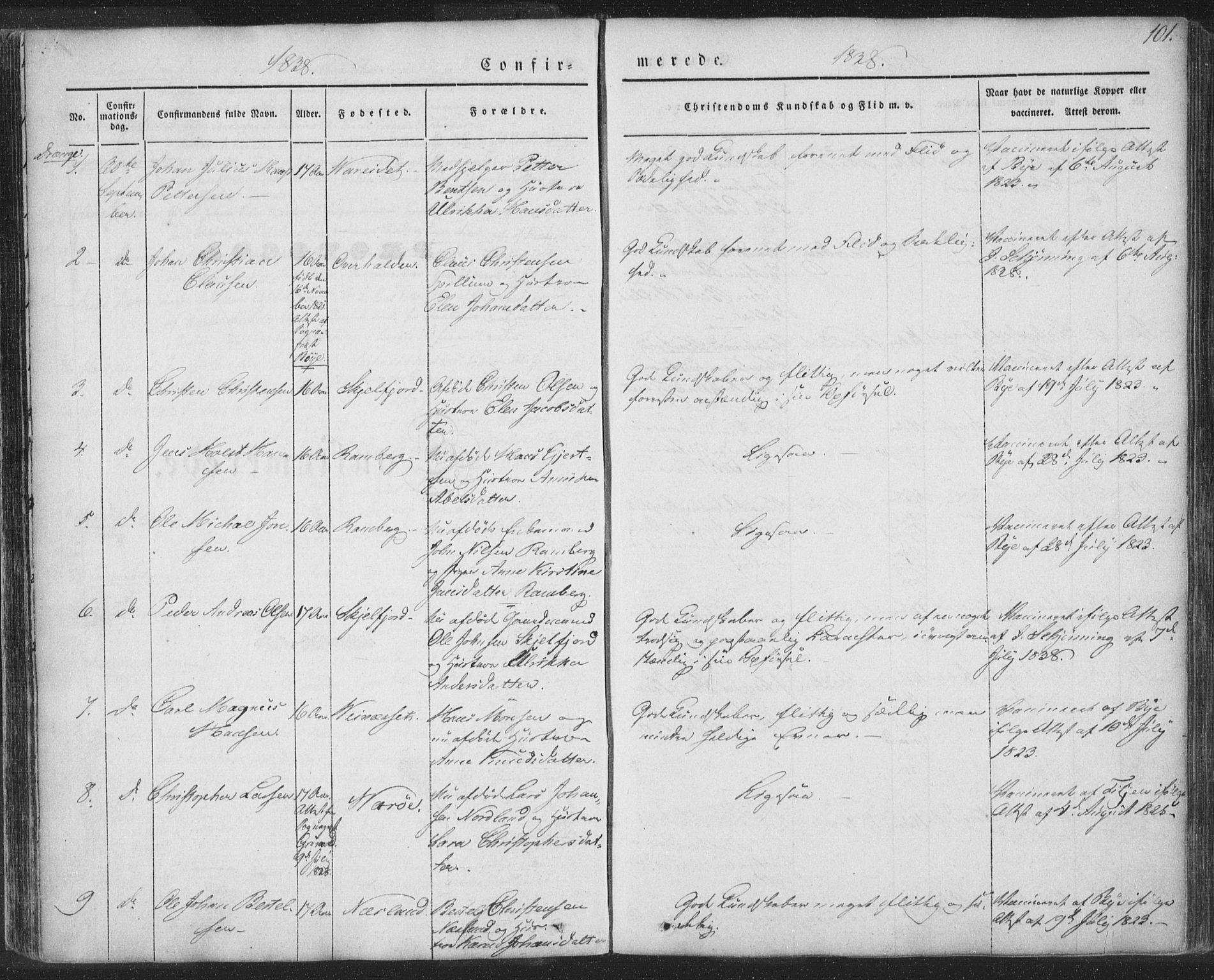 SAT, Ministerialprotokoller, klokkerbøker og fødselsregistre - Nordland, 885/L1202: Ministerialbok nr. 885A03, 1838-1859, s. 101