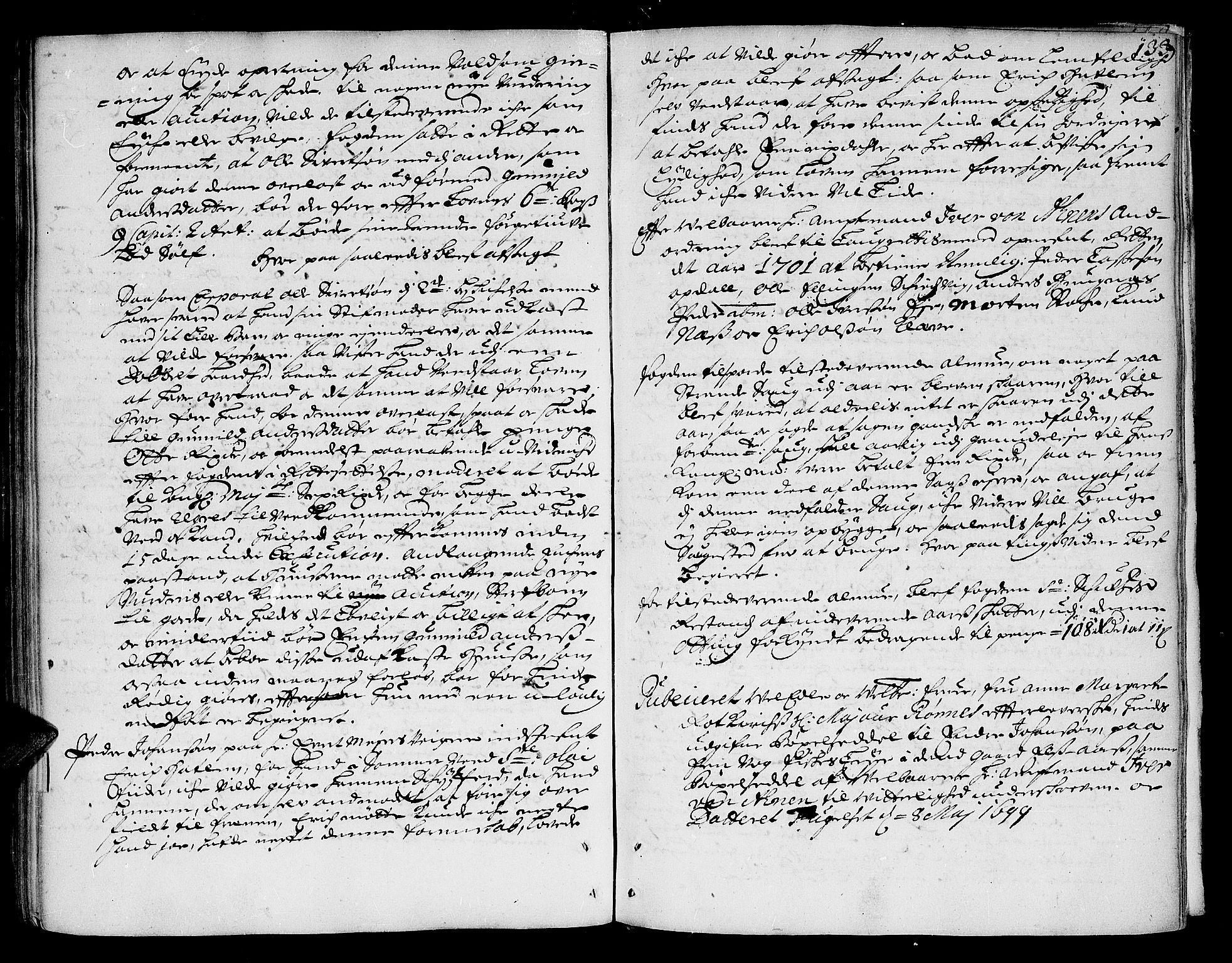 SAT, Romsdal sorenskriveri, 1/1A/L0003: Tingbok, 1694-1699, s. 132b-133a