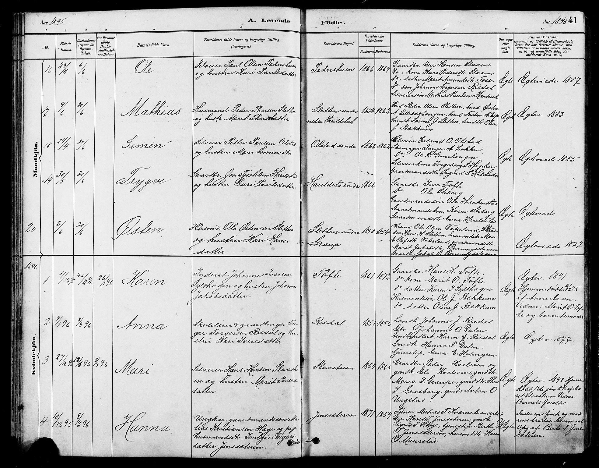 SAH, Nord-Fron prestekontor, Klokkerbok nr. 5, 1884-1914, s. 41