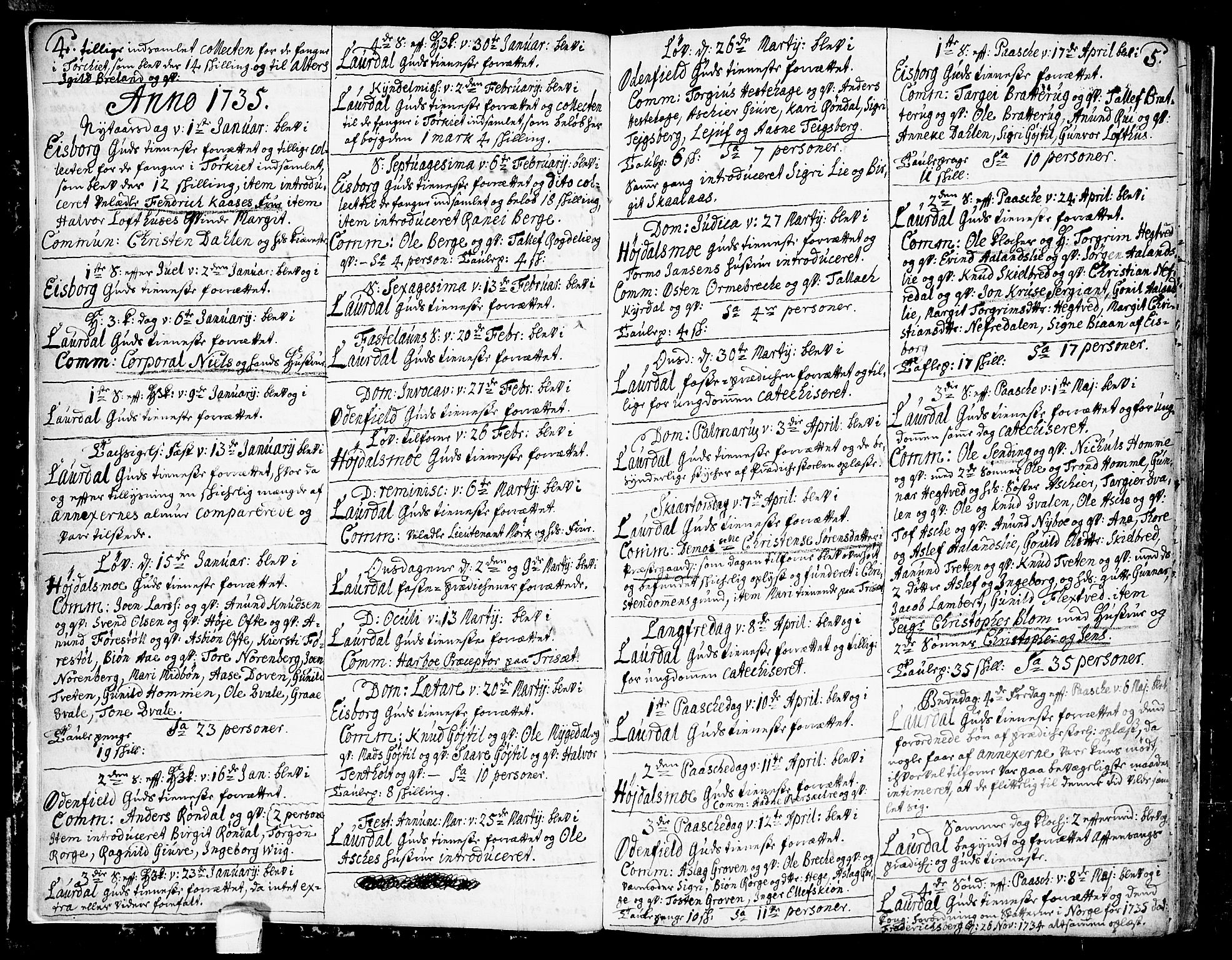 SAKO, Lårdal kirkebøker, F/Fa/L0002: Ministerialbok nr. I 2, 1734-1754, s. 4-5