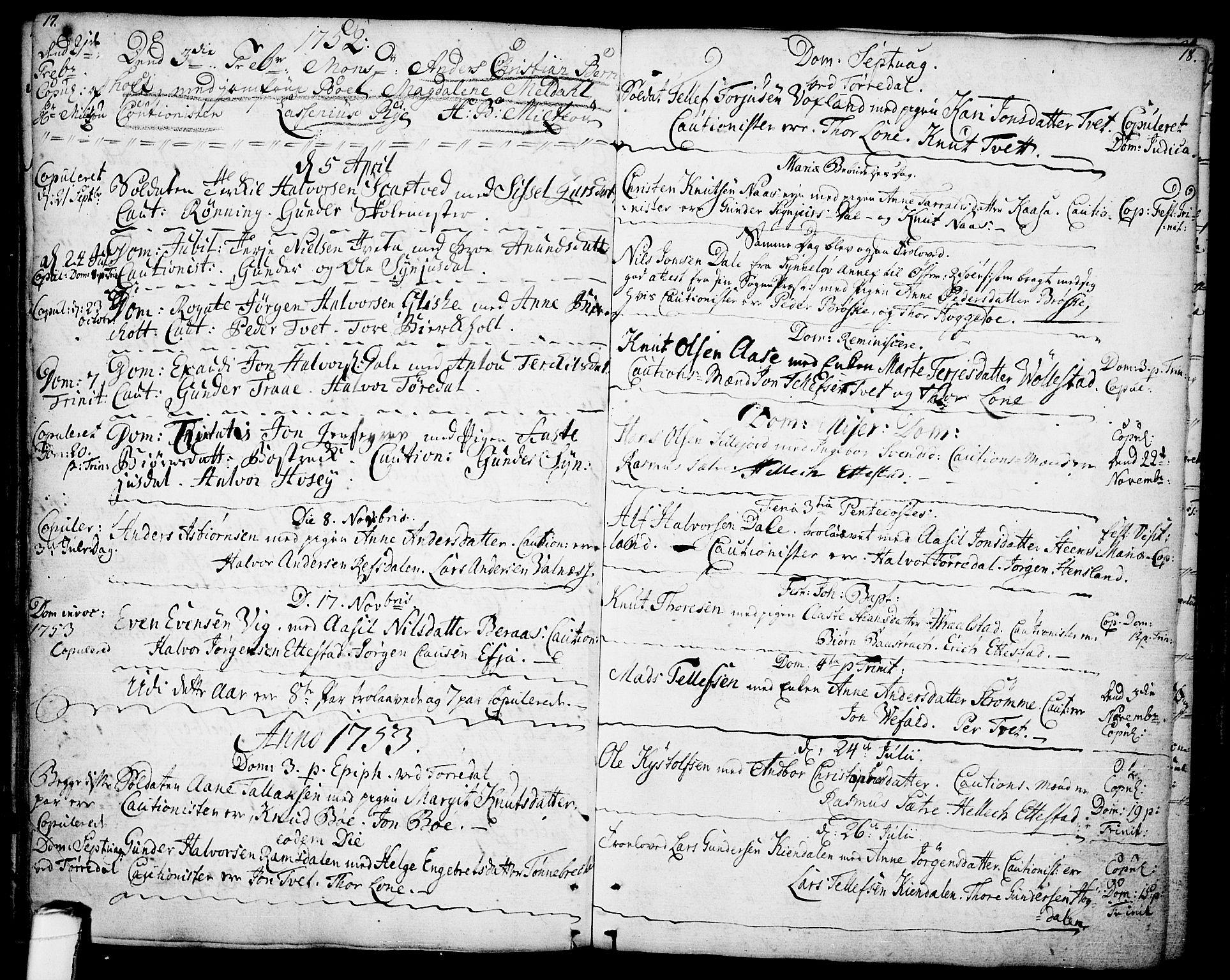 SAKO, Drangedal kirkebøker, F/Fa/L0001: Ministerialbok nr. 1, 1697-1767, s. 17-18
