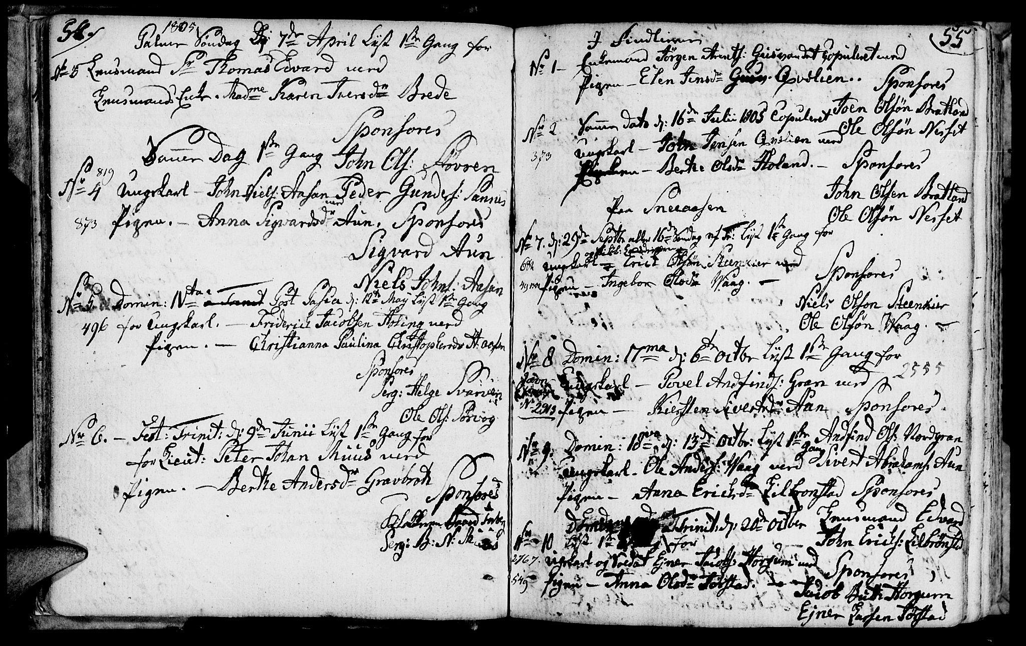 SAT, Ministerialprotokoller, klokkerbøker og fødselsregistre - Nord-Trøndelag, 749/L0468: Ministerialbok nr. 749A02, 1787-1817, s. 54-55
