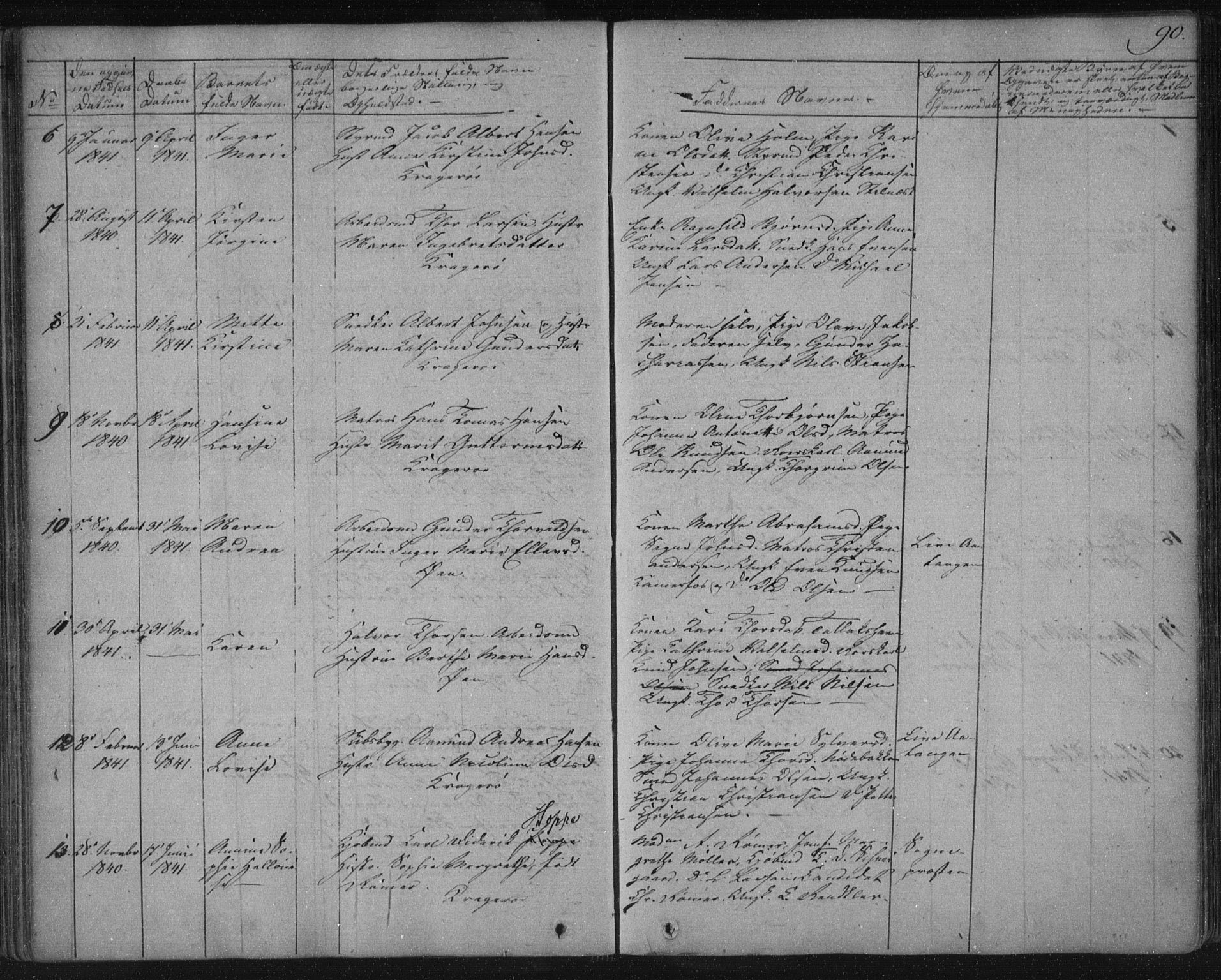SAKO, Kragerø kirkebøker, F/Fa/L0005: Ministerialbok nr. 5, 1832-1847, s. 90