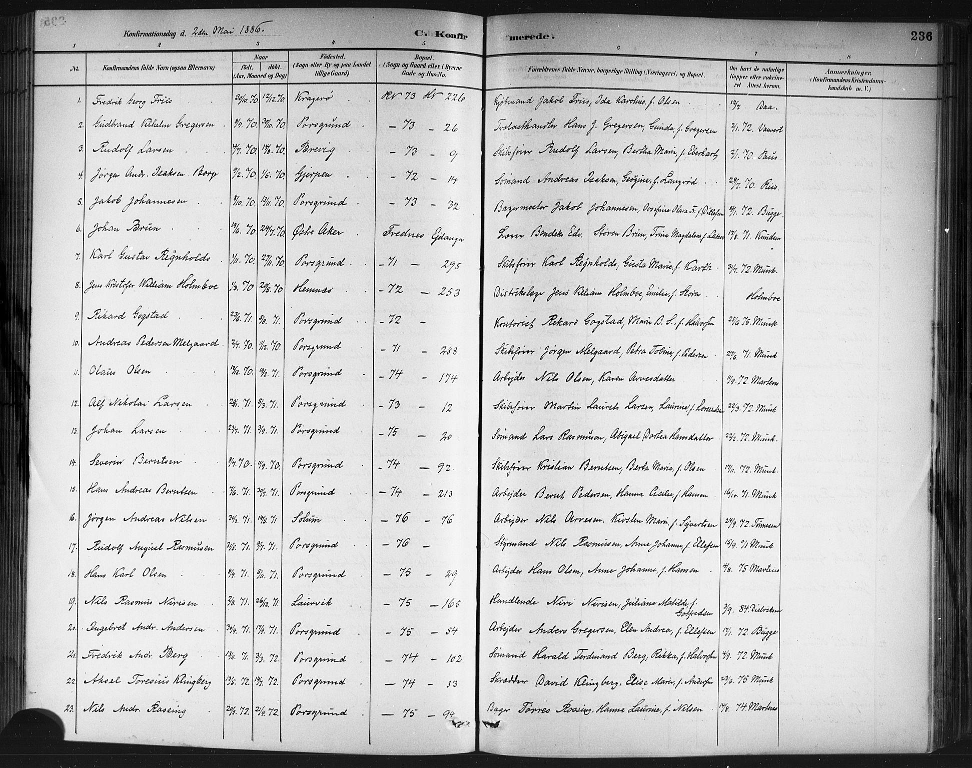 SAKO, Porsgrunn kirkebøker , G/Gb/L0005: Klokkerbok nr. II 5, 1883-1915, s. 236