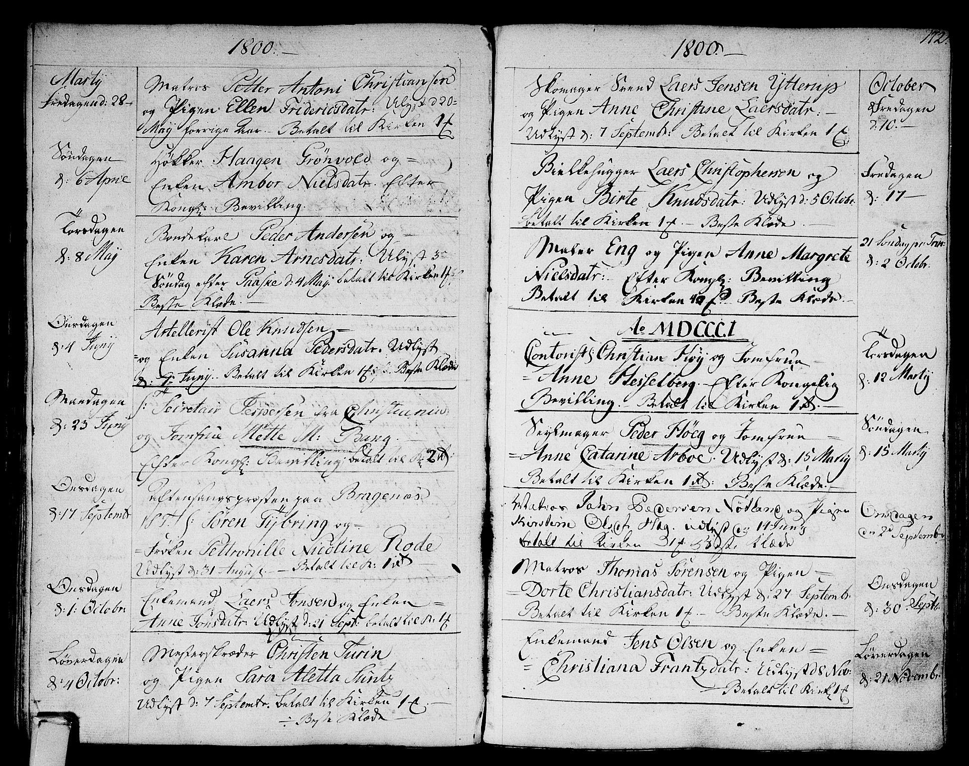 SAKO, Strømsø kirkebøker, F/Fa/L0010: Ministerialbok nr. I 10, 1792-1822, s. 172