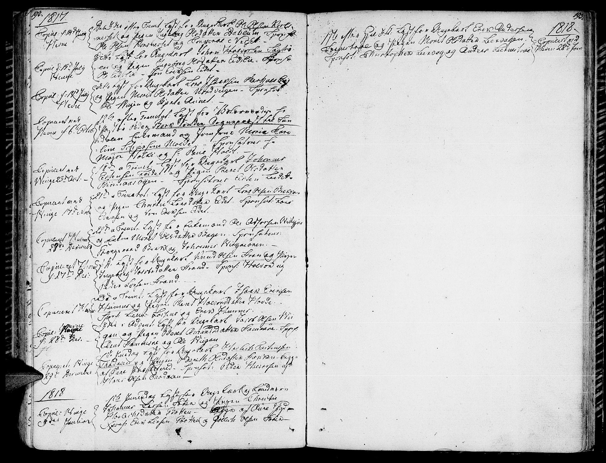 SAT, Ministerialprotokoller, klokkerbøker og fødselsregistre - Sør-Trøndelag, 630/L0490: Ministerialbok nr. 630A03, 1795-1818, s. 192-193