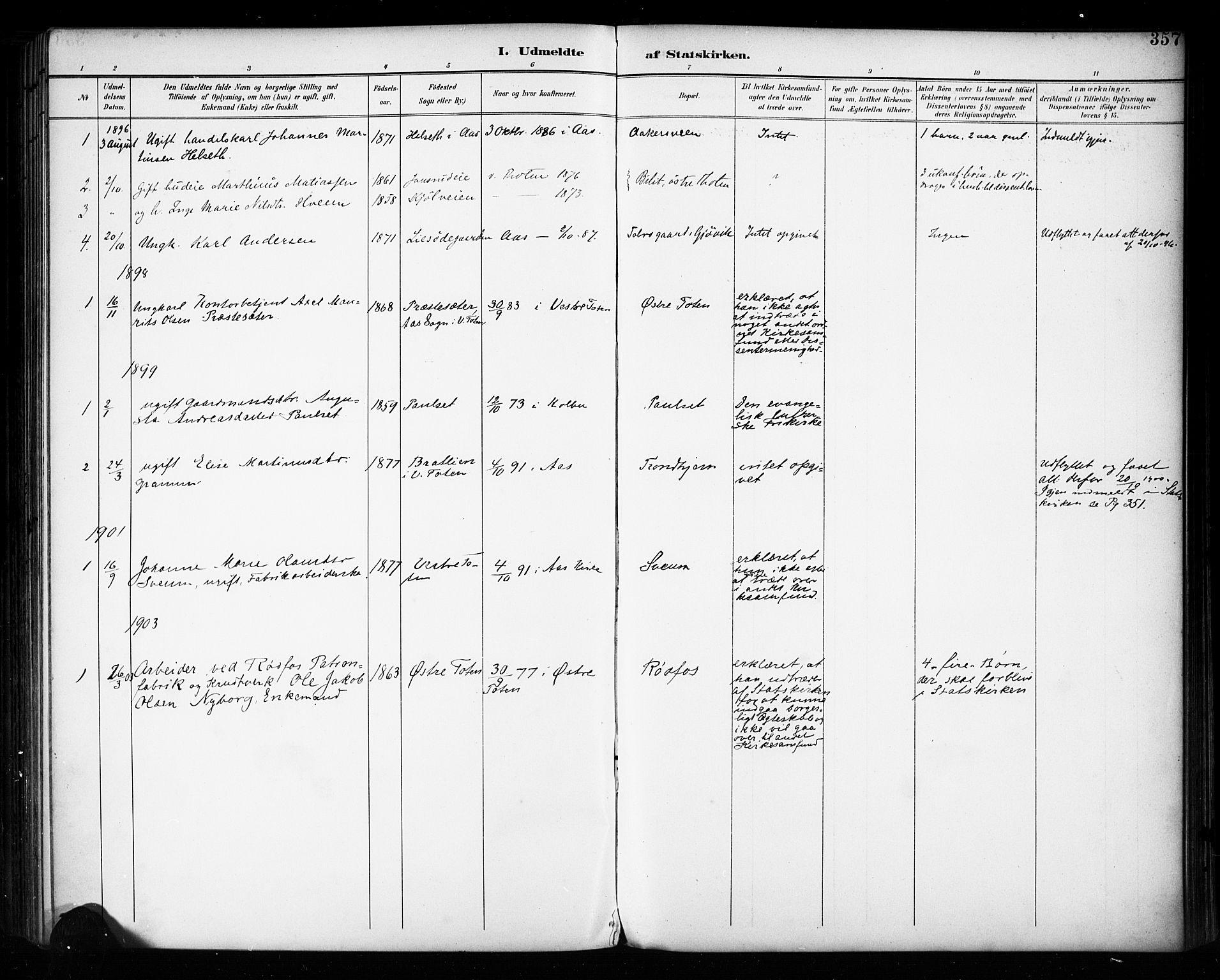 SAH, Vestre Toten prestekontor, Ministerialbok nr. 11, 1895-1906, s. 357