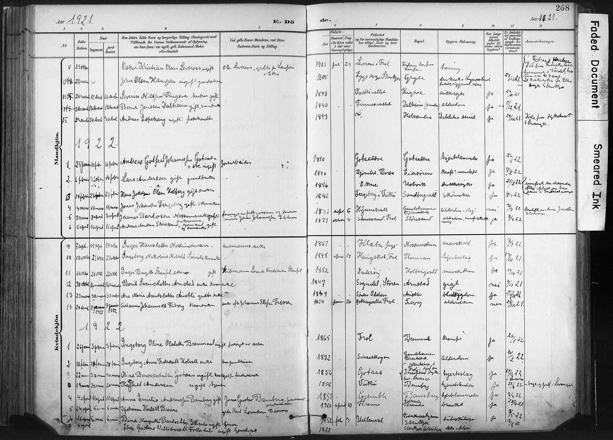 SAT, Ministerialprotokoller, klokkerbøker og fødselsregistre - Nord-Trøndelag, 717/L0162: Ministerialbok nr. 717A12, 1898-1923, s. 268