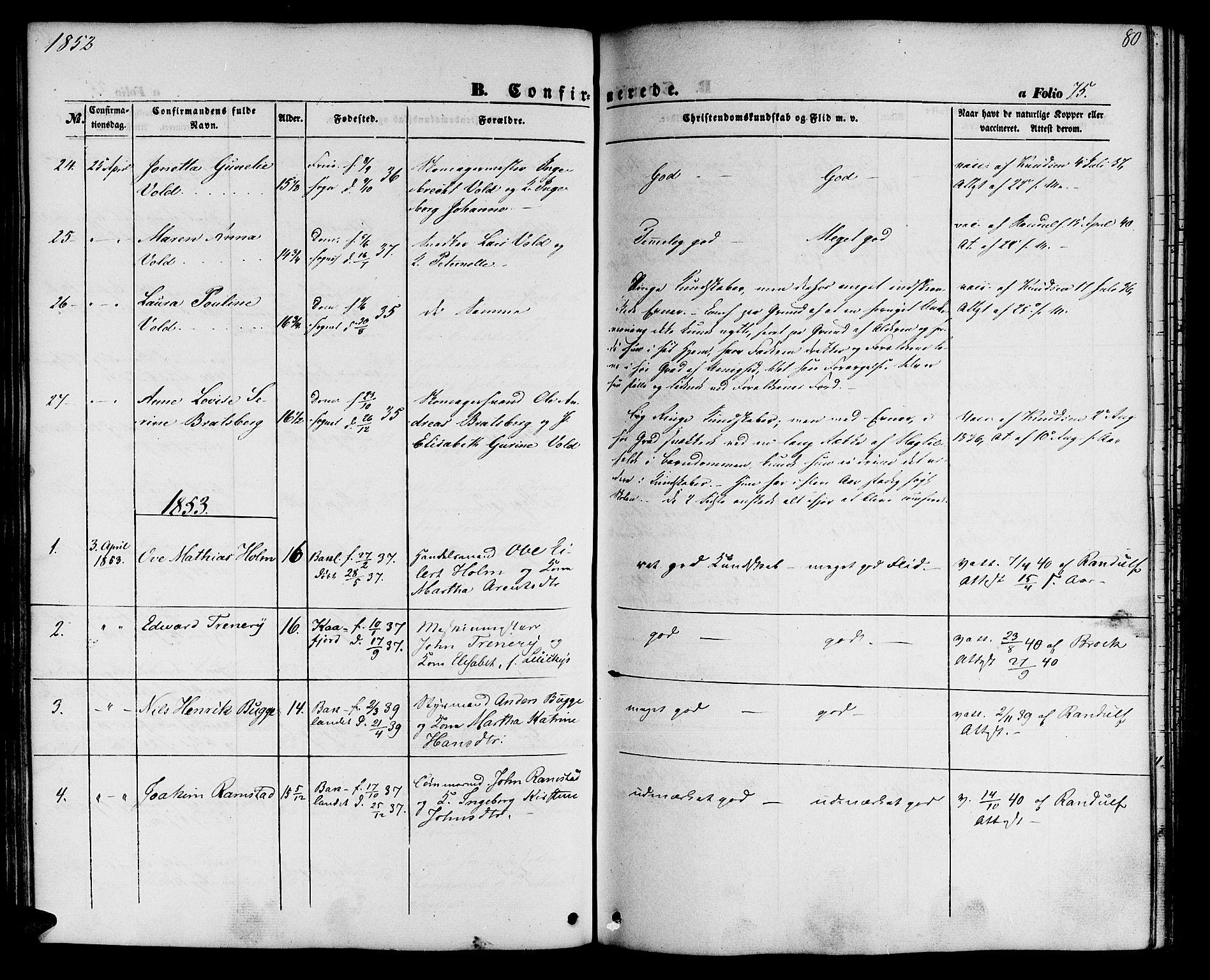 SAT, Ministerialprotokoller, klokkerbøker og fødselsregistre - Sør-Trøndelag, 604/L0184: Ministerialbok nr. 604A05, 1851-1860, s. 80