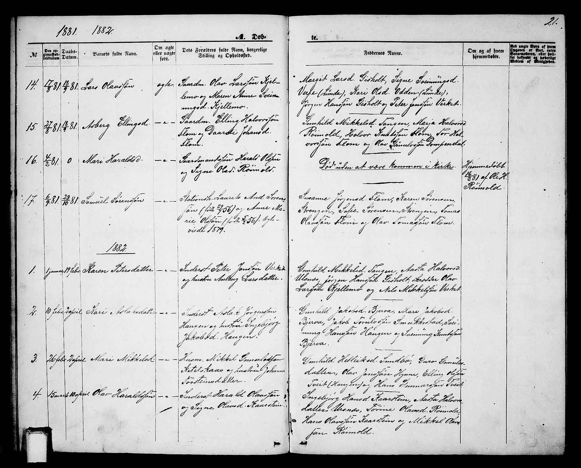 SAKO, Lunde kirkebøker, G/Gb/L0001: Klokkerbok nr. II 1, 1866-1887, s. 21