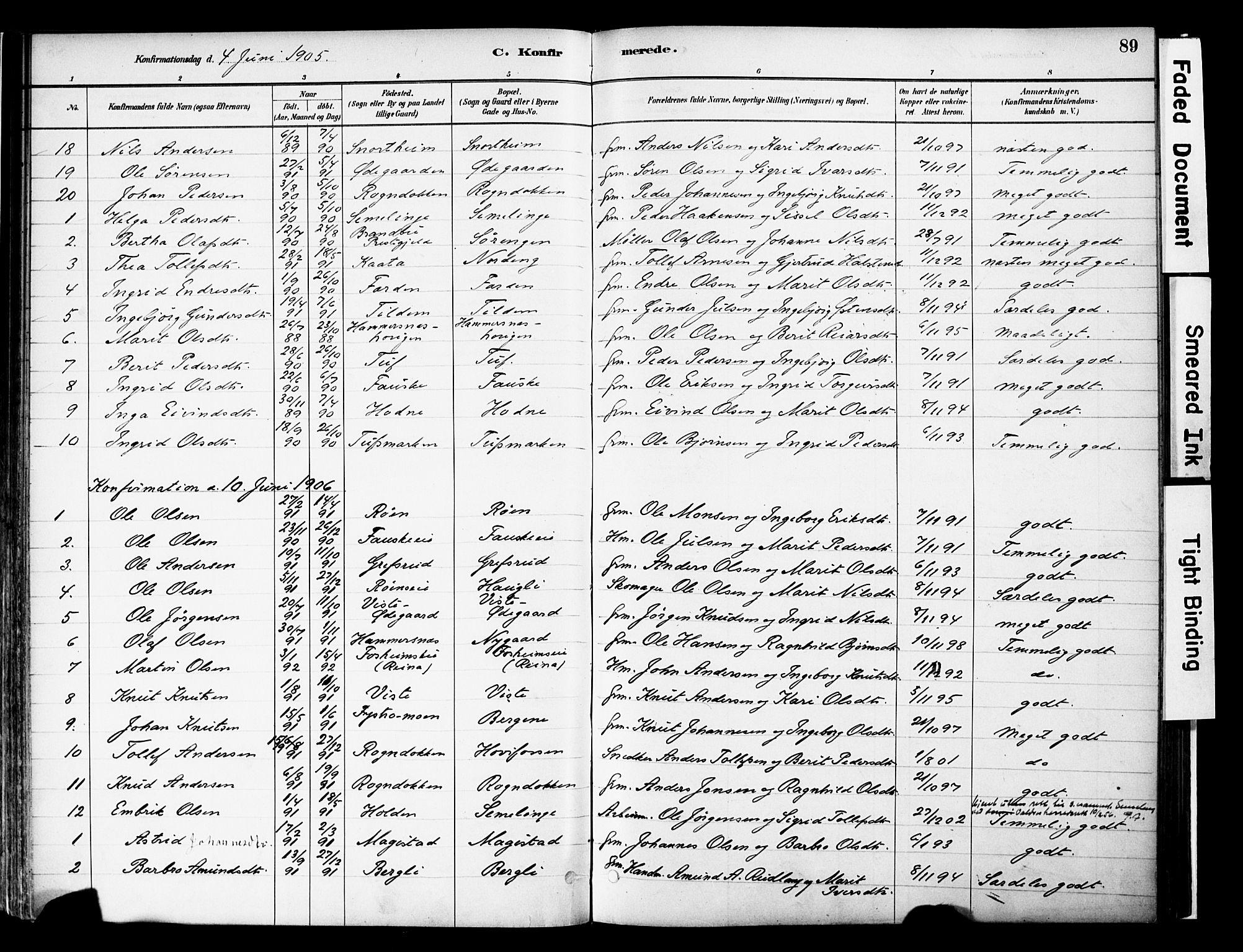 SAH, Vestre Slidre prestekontor, Ministerialbok nr. 6, 1881-1912, s. 89