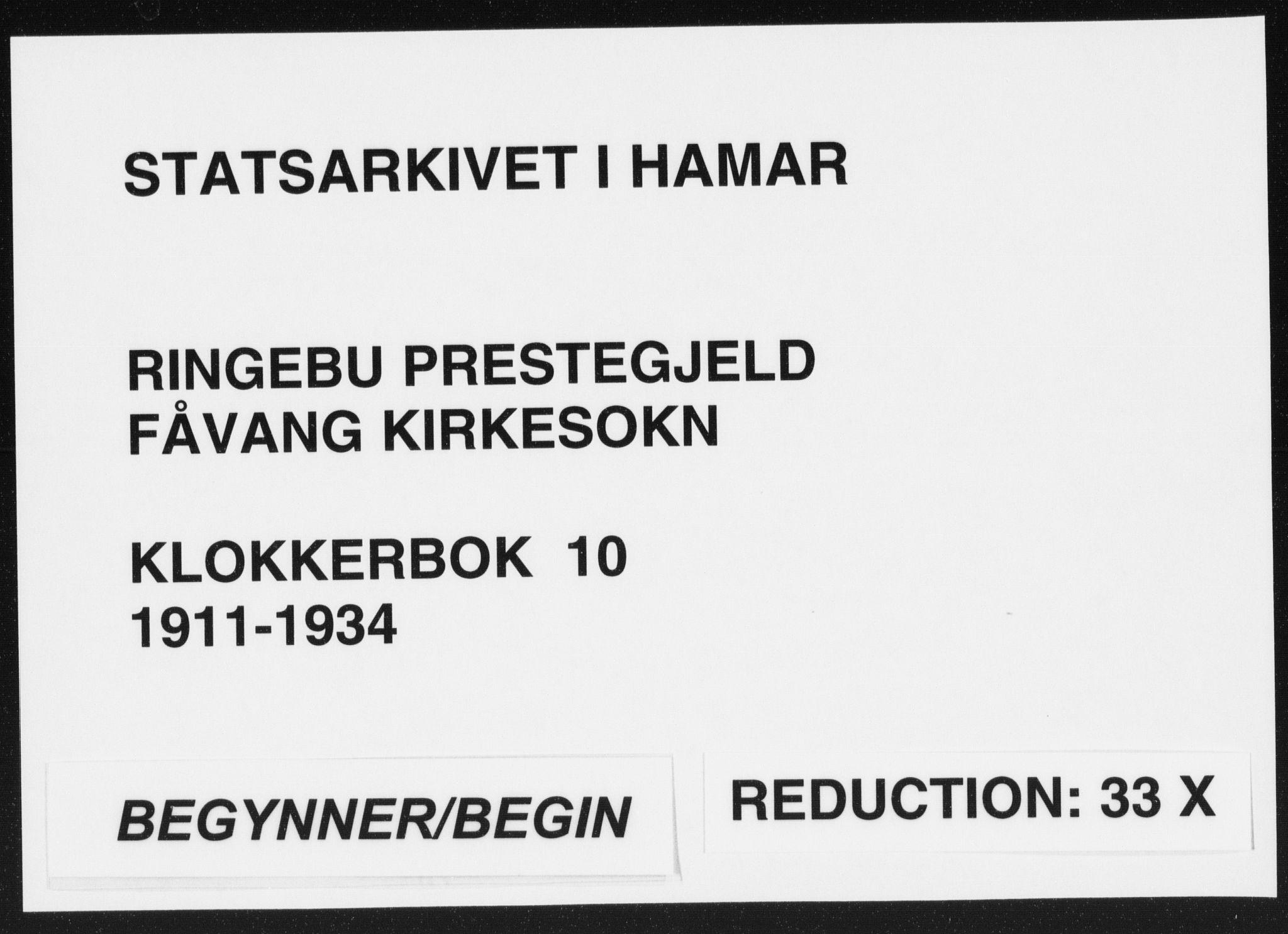 SAH, Ringebu prestekontor, Klokkerbok nr. 10, 1911-1934
