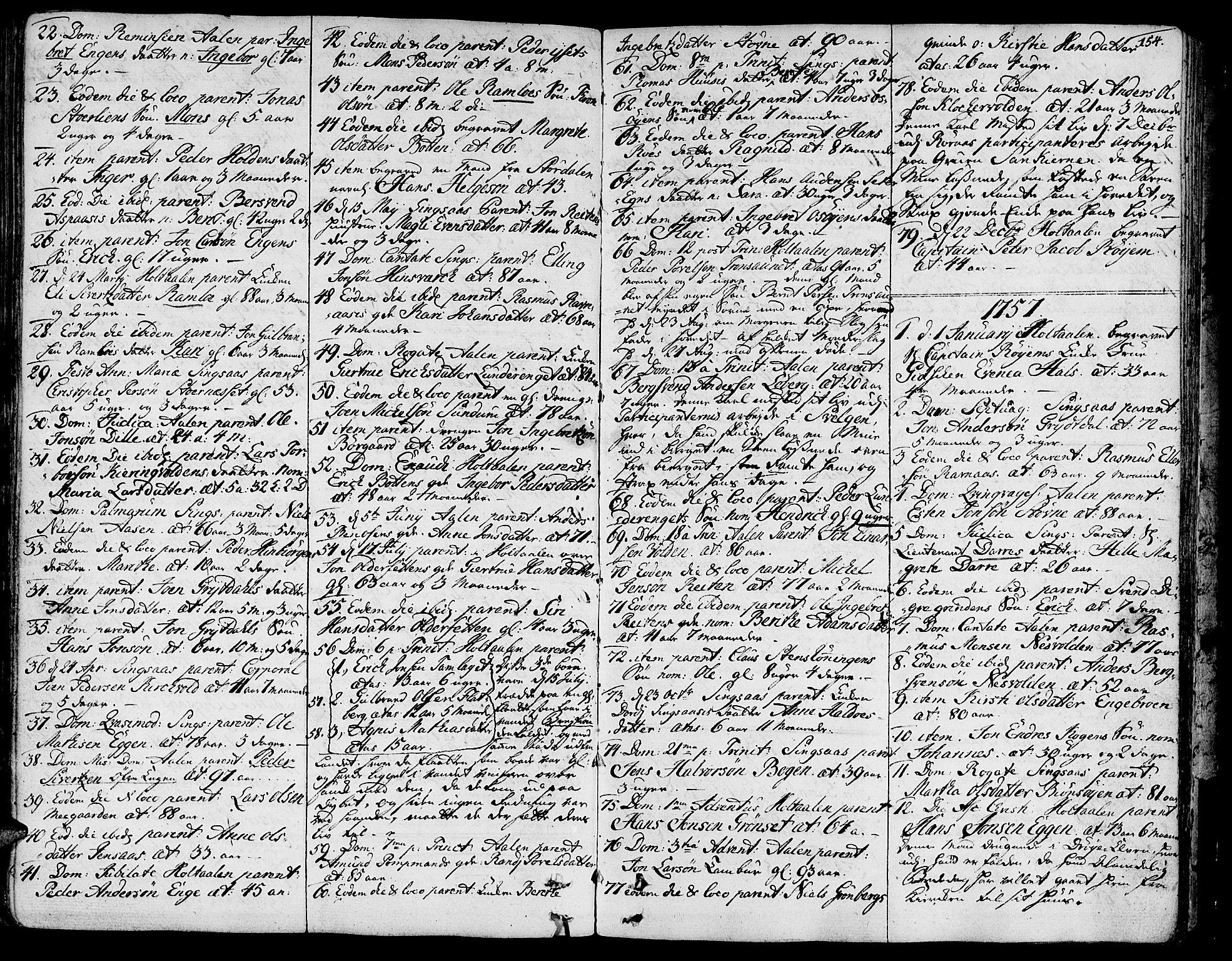 SAT, Ministerialprotokoller, klokkerbøker og fødselsregistre - Sør-Trøndelag, 685/L0952: Ministerialbok nr. 685A01, 1745-1804, s. 154
